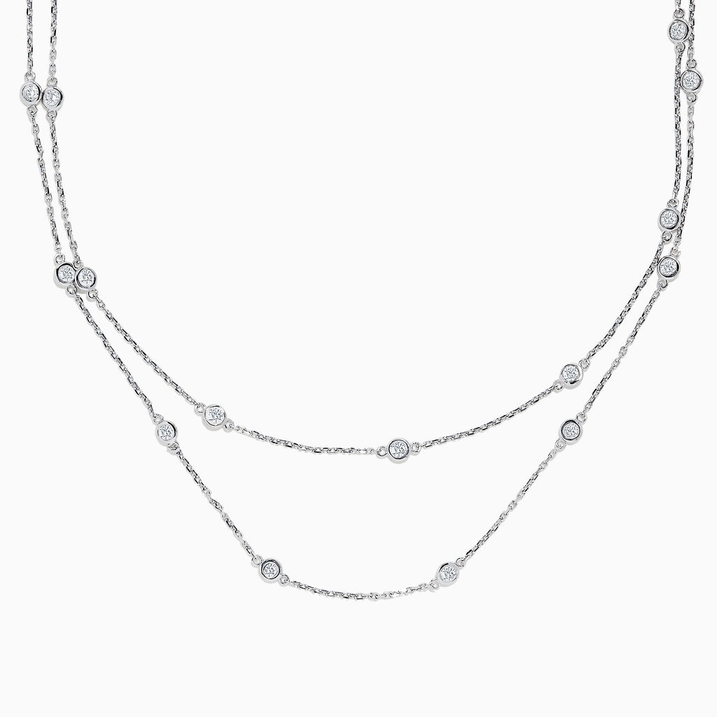 "14K White Gold 36"" Diamond Station Necklace, 2.00 TCW"