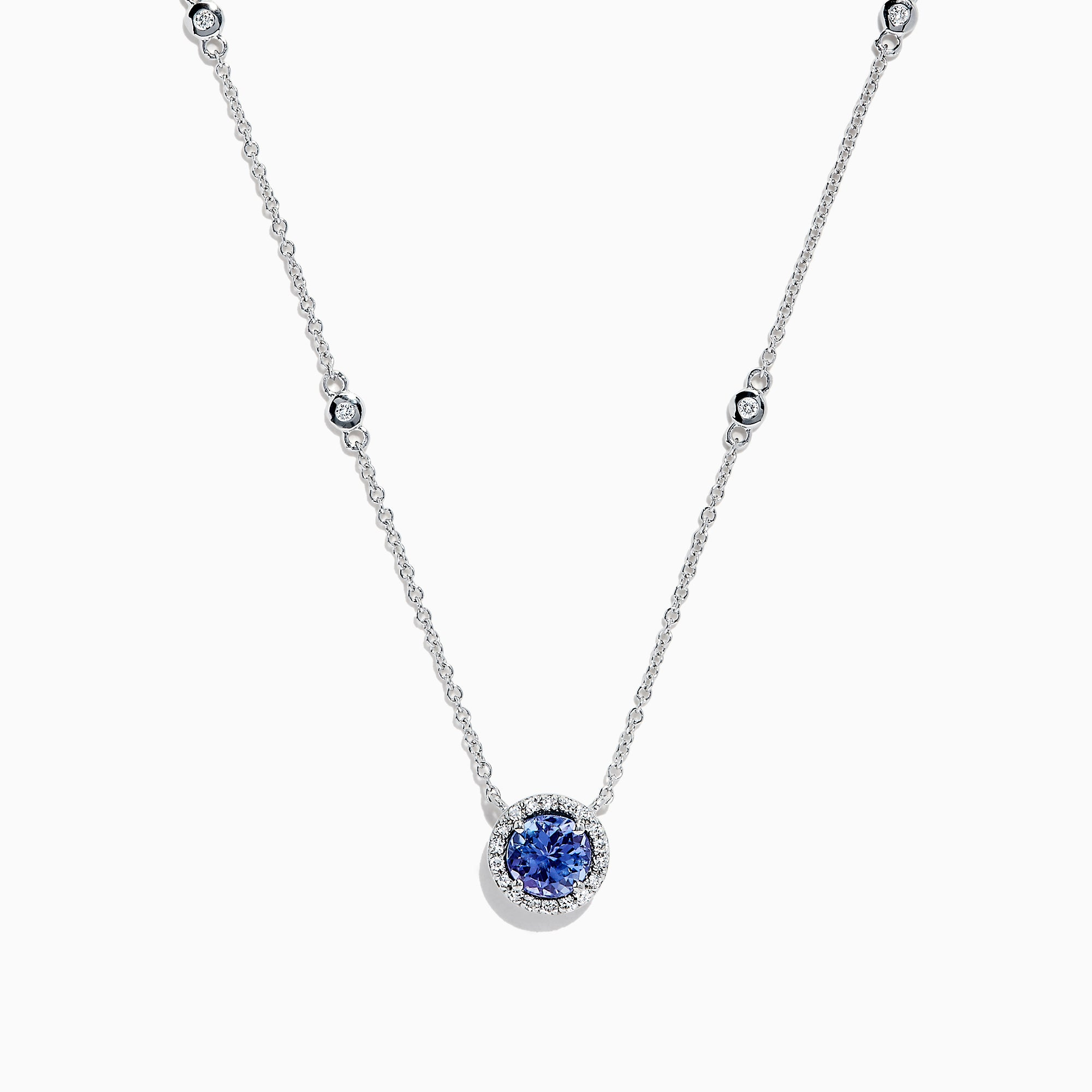 Effy Tanzanite Royale 14K White Gold Tanzanite and Diamond Necklace, 0.85 TCW