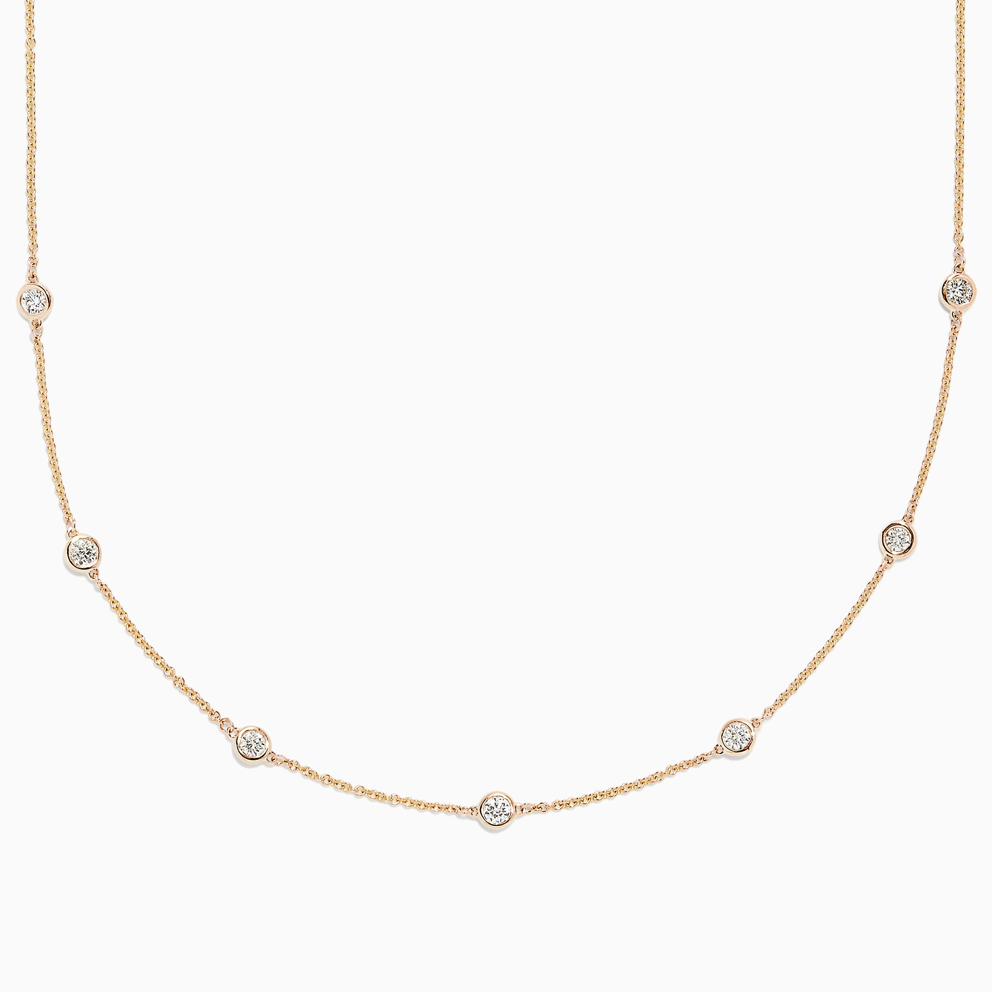 Effy D'Oro 14K Yellow Gold Diamond Station Necklace, 0.69 TCW