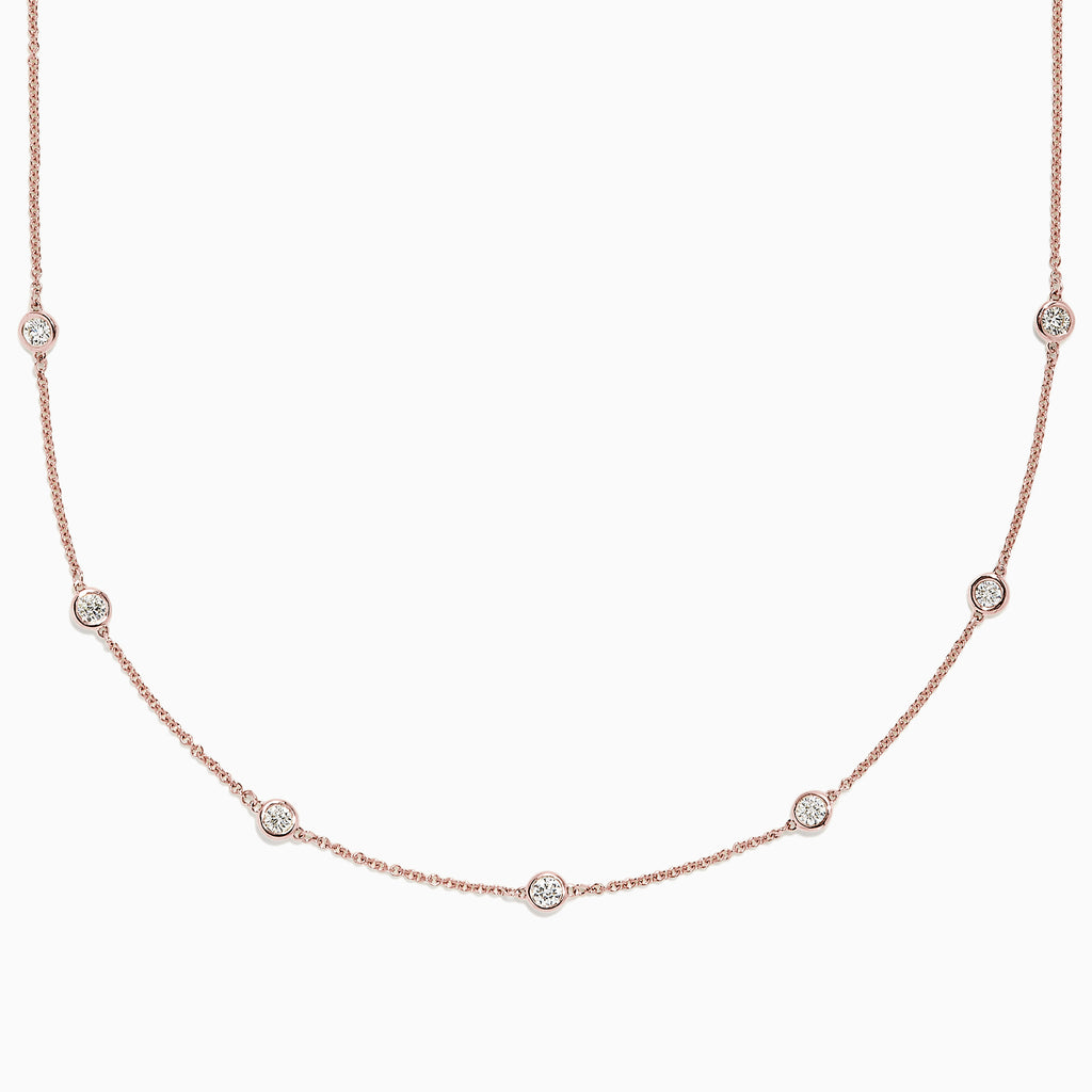 Effy Pave Rose 14K Rose Gold Diamond Station Necklace, 0.69 TCW