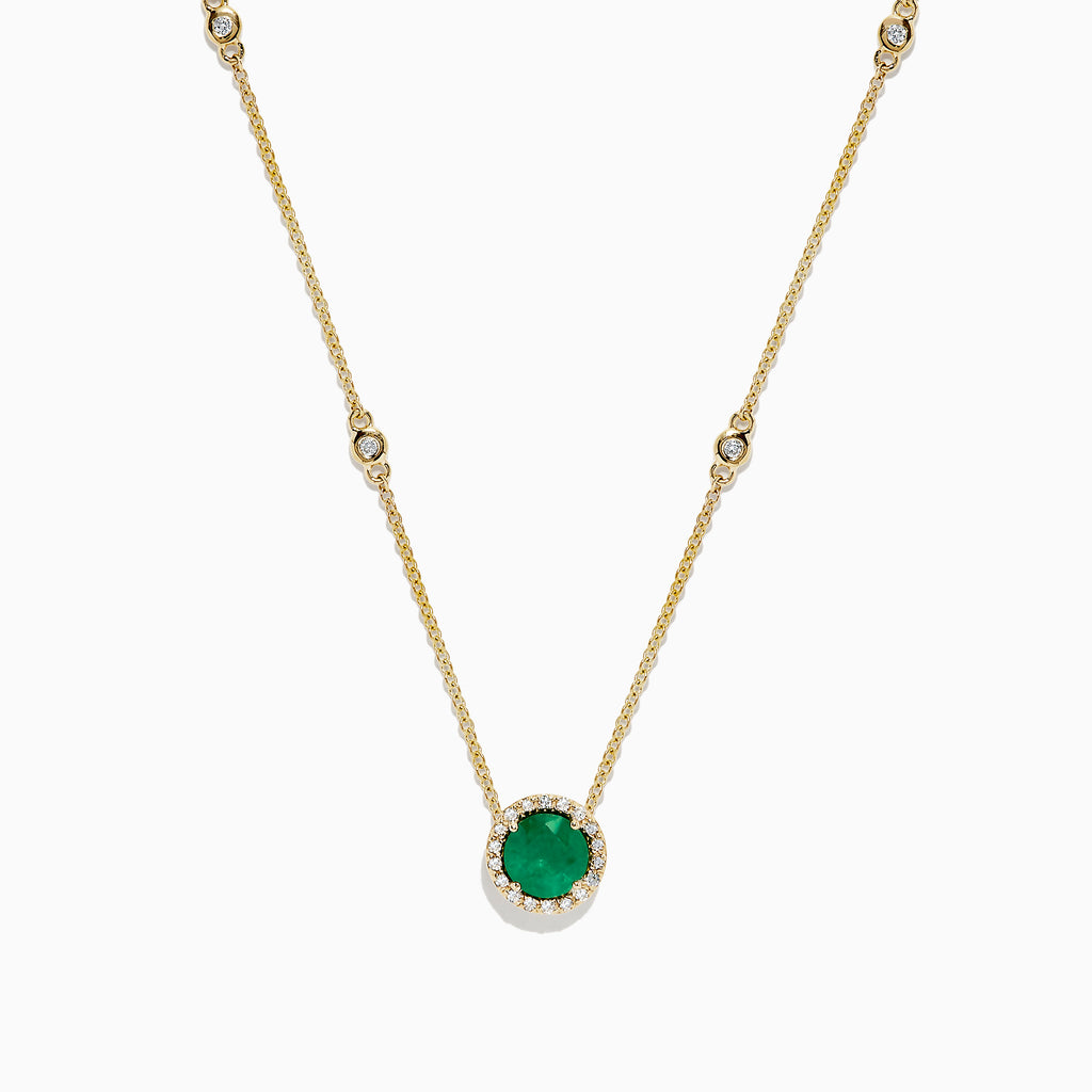 Effy Brasilica 14K Yellow Gold Emerald and Diamond Necklace, 0.92 TCW