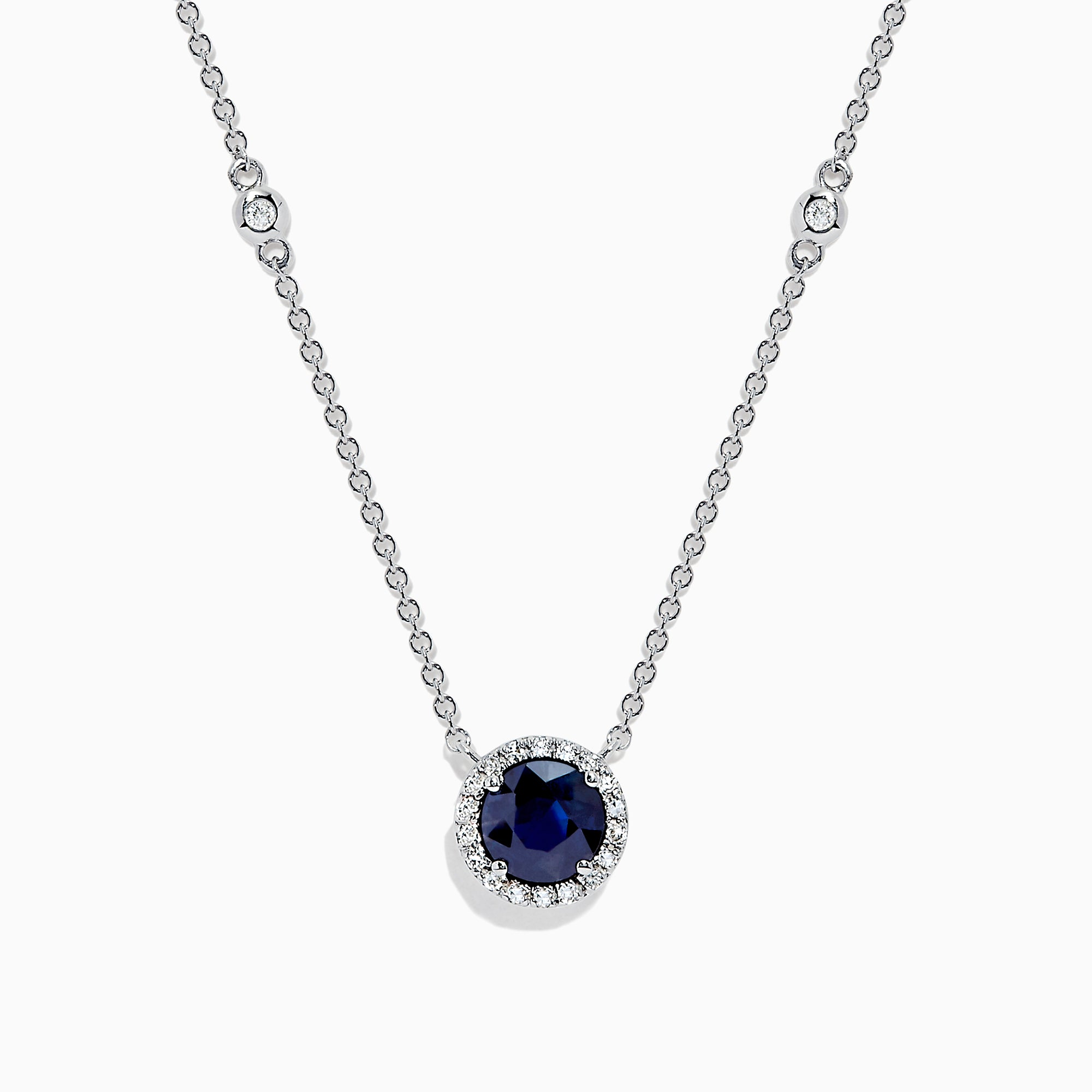 Effy Royale Bleu 14K White Gold Sapphire and Diamond Necklace, 1.11 TCW