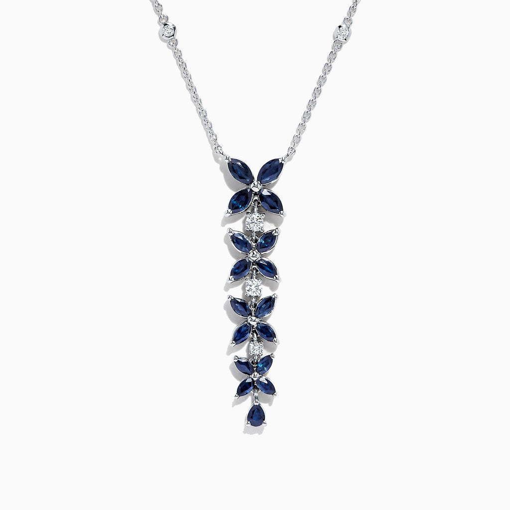 Effy Royale Bleu 14K White Gold Sapphire and Diamond Necklace, 3.99 TCW