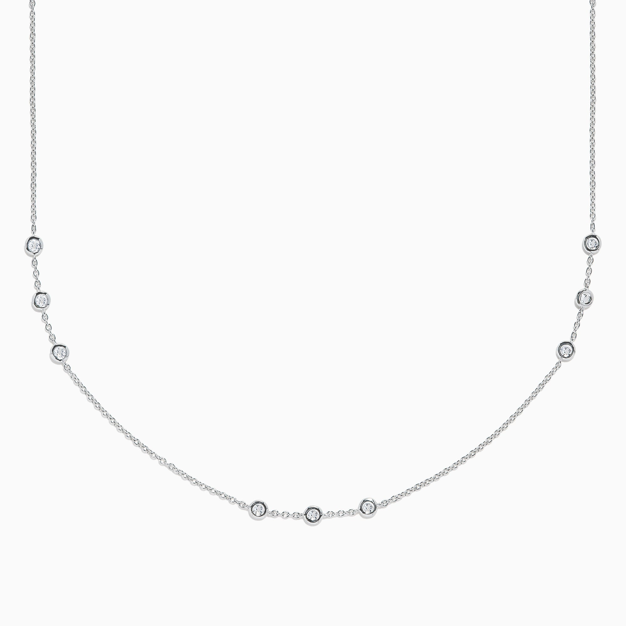 "Effy Pave Classica 14K White Gold 16"" Diamond Station Necklace, 0.59 TCW"