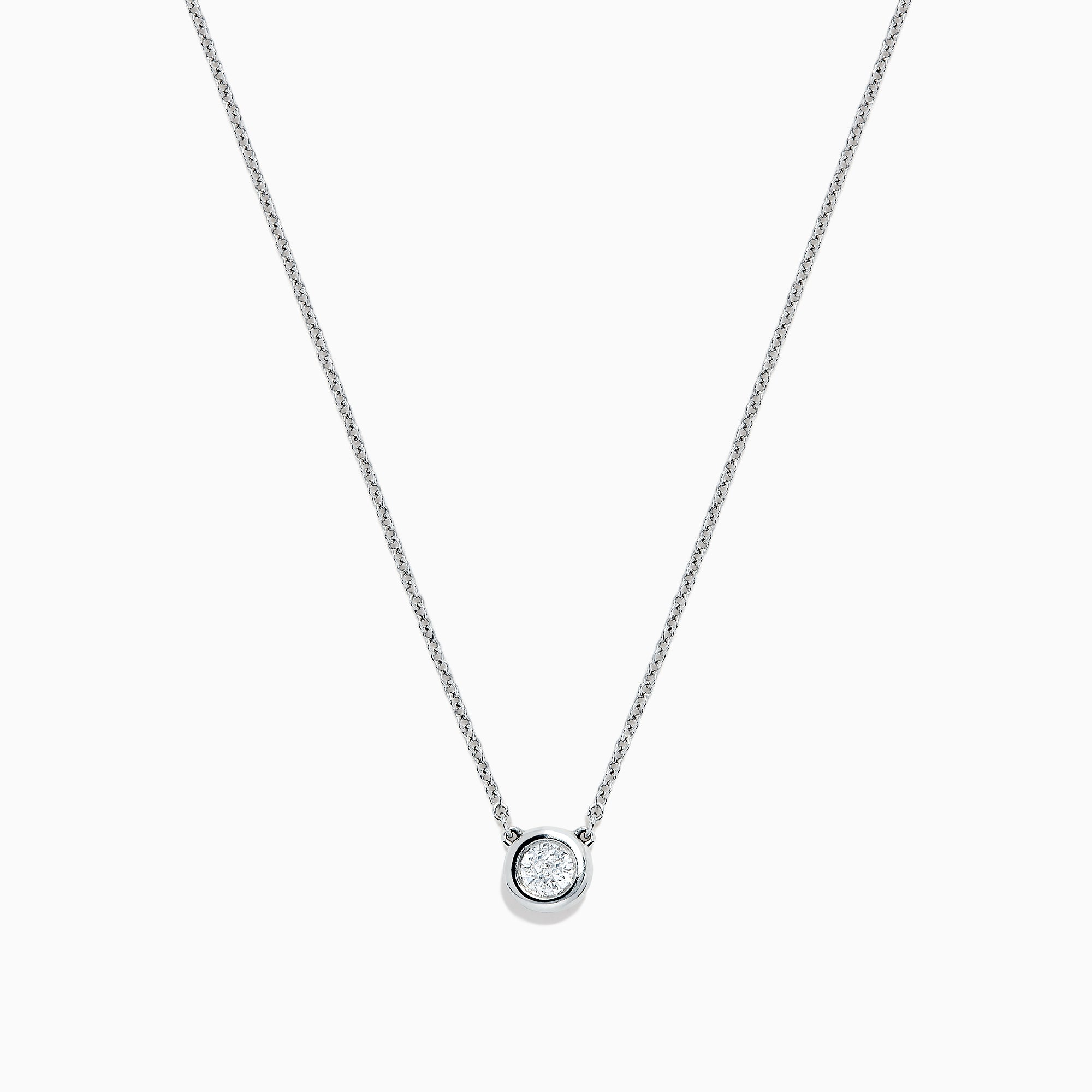 Effy Pave Classica 14K White Gold Diamond Bezel Set Necklace, 0.20 TCW