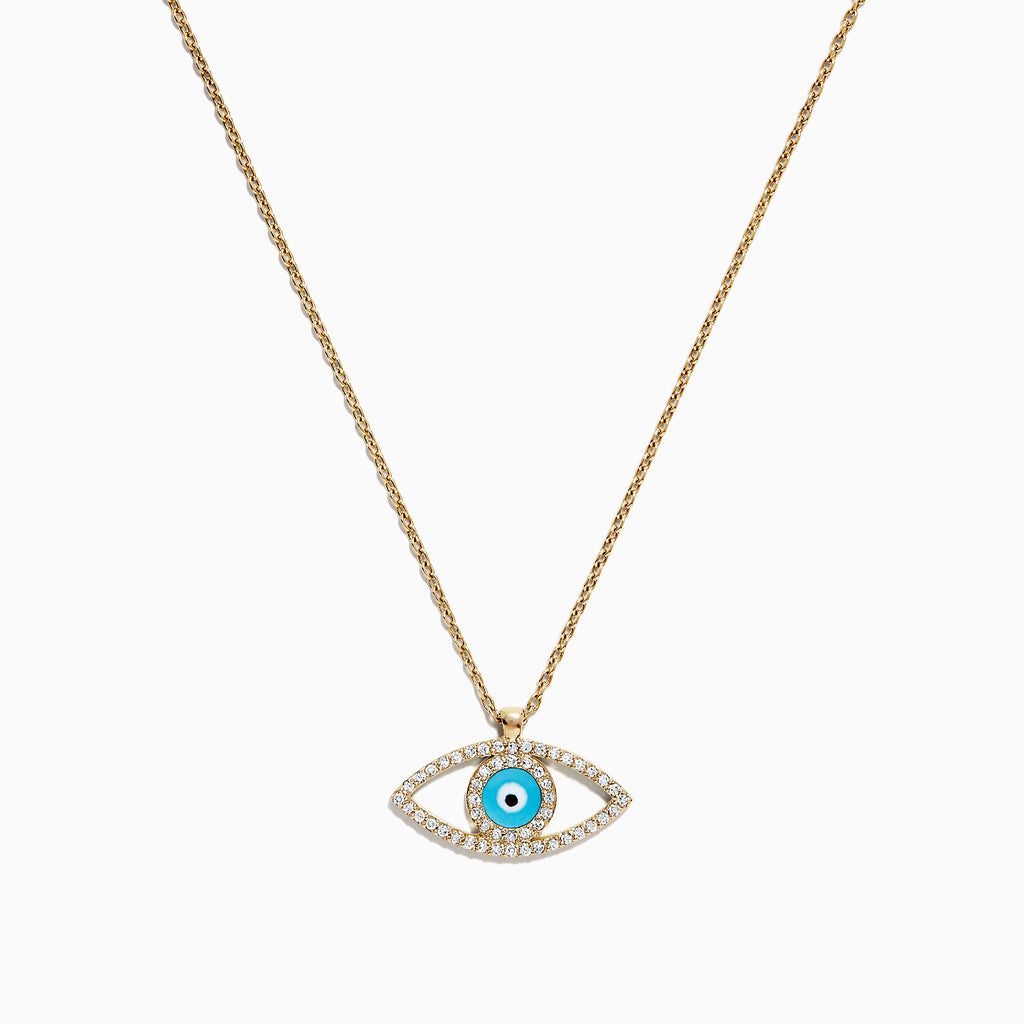 Effy Novelty 14K Yellow Gold Diamond and Enamel Evil Eye Pendant, 0.15 TCW