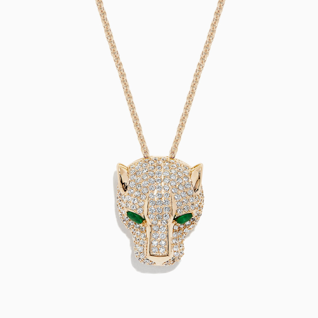 Effy Signature 14K Yellow Gold Diamond & Emerald Panther Pendant, 3.23 TCW