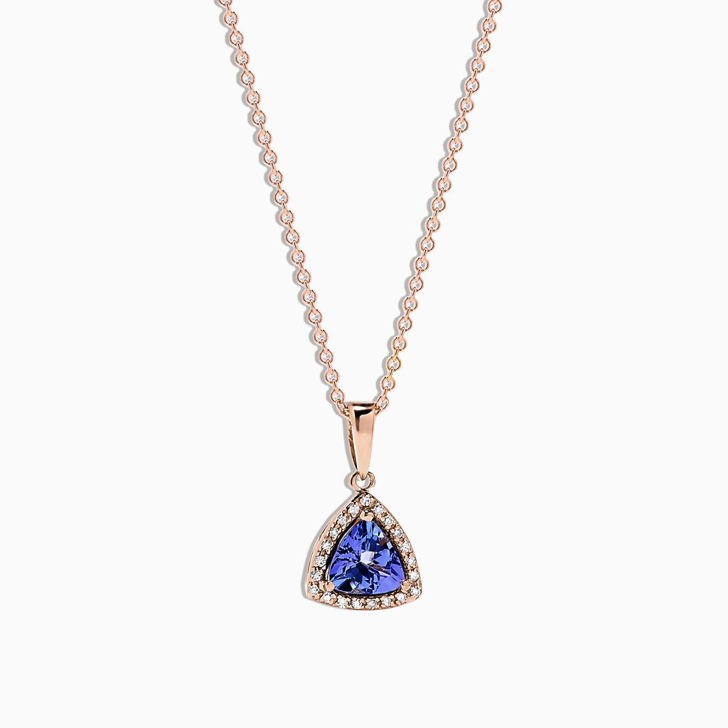 Effy Tanzanite Royale 14K Rose Gold Tanzanite & Diamond Pendant, 0.72 TCW