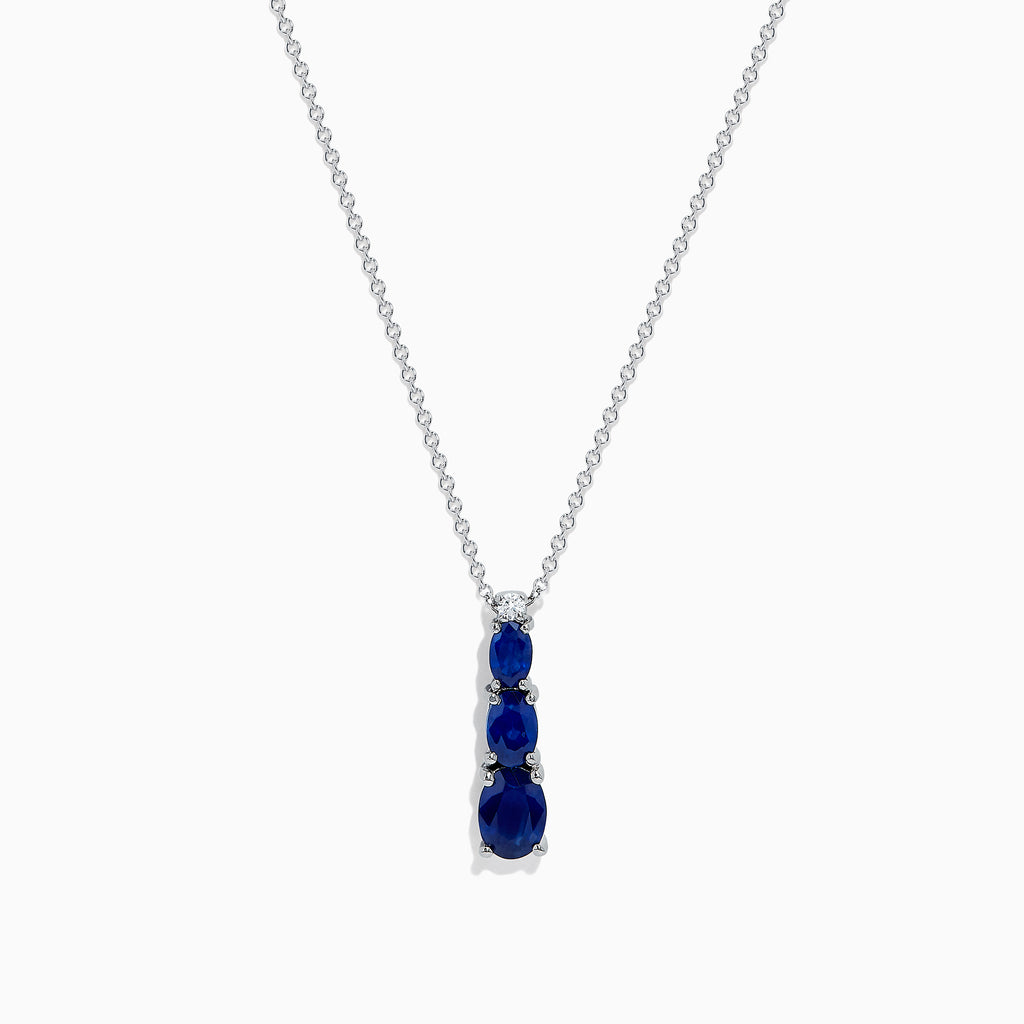 Effy Royale Bleu 14K White Gold Sapphire and Diamond Pendant, 1.86 TCW