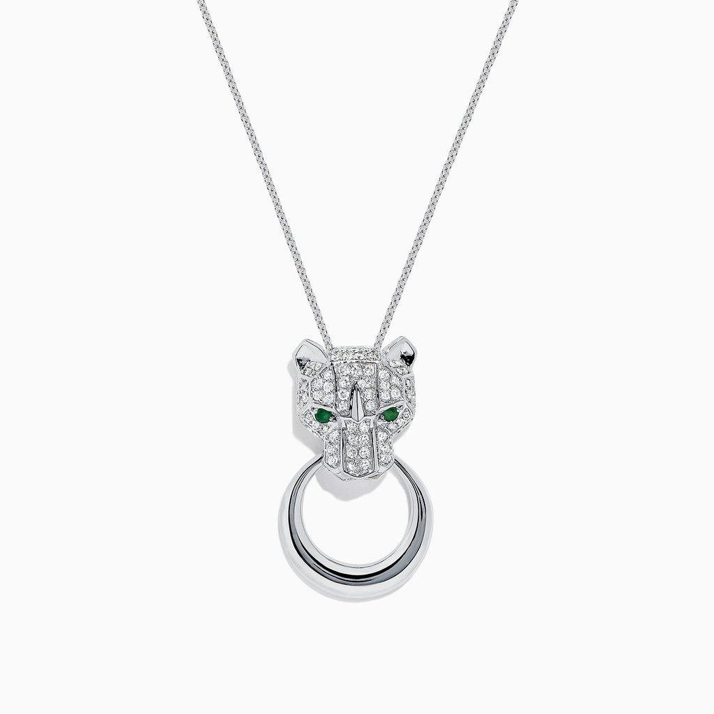 Effy Signature 14K White Gold Diamond and Emerald Panther Pendant, 0.59 TCW