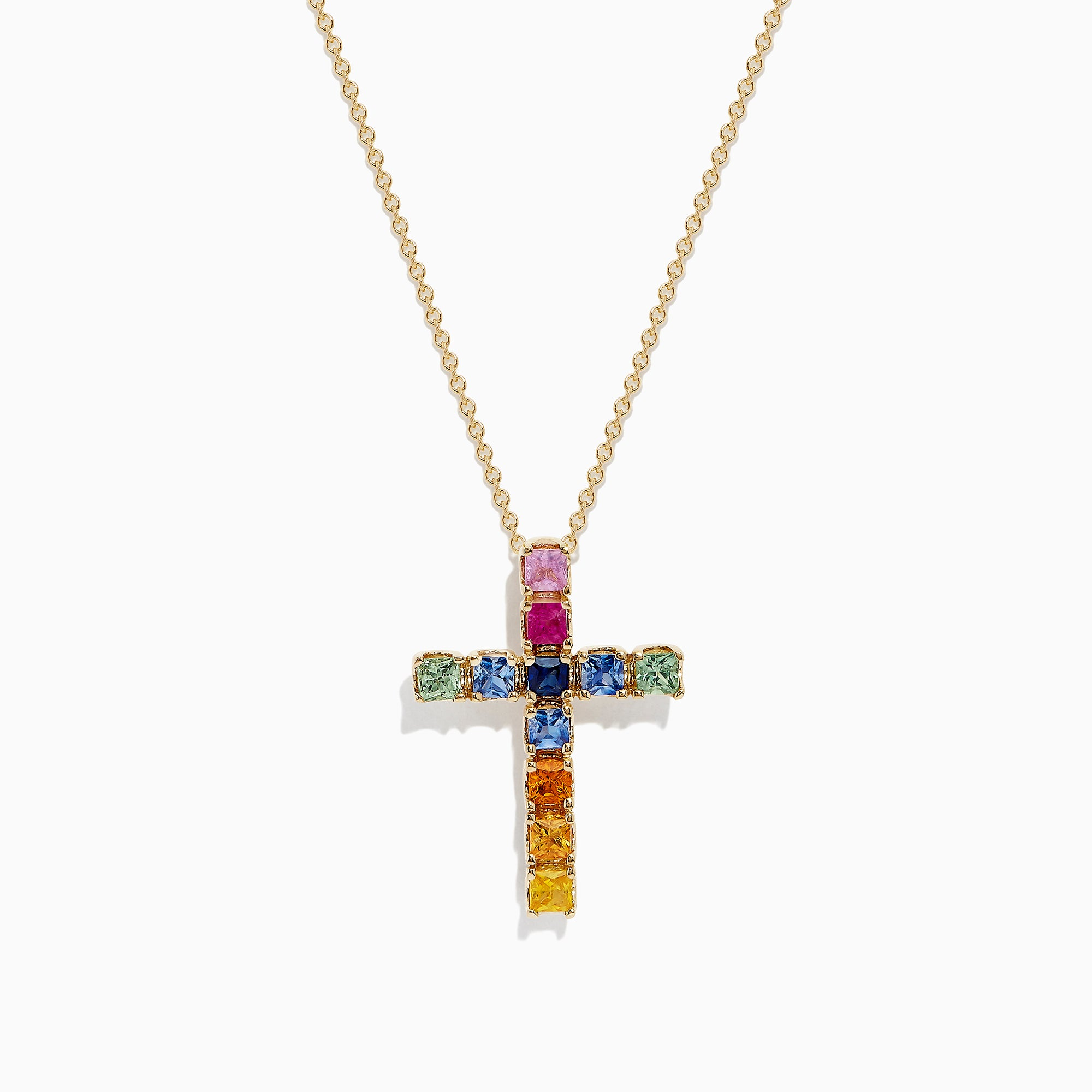 Effy Watercolors 14K Yellow Gold Multi Sapphire Cross Pendant, 2.05 TCW