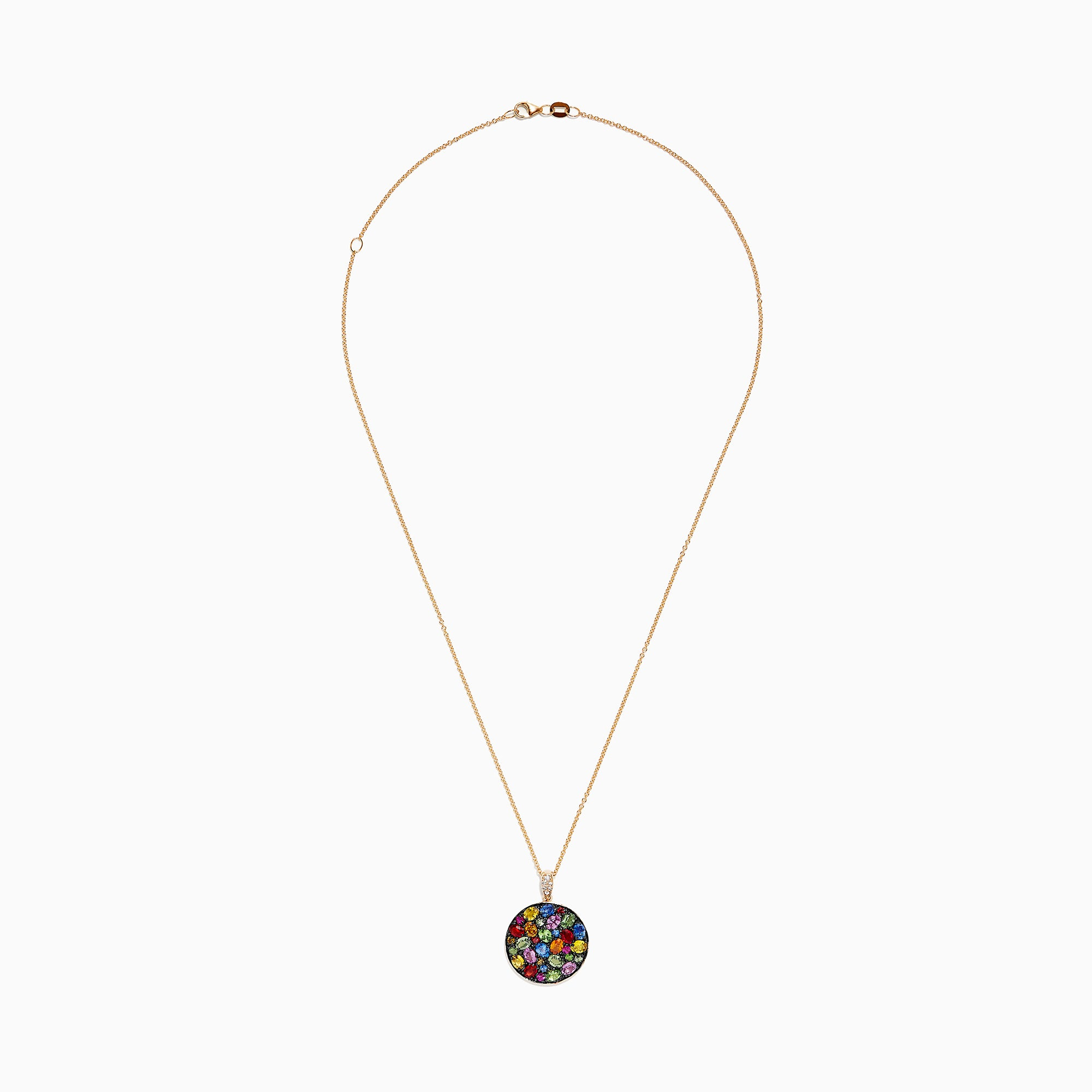 Effy Watercolors 14K Yellow Gold Multi Sapphire Circle Pendant, 5.09 TCW