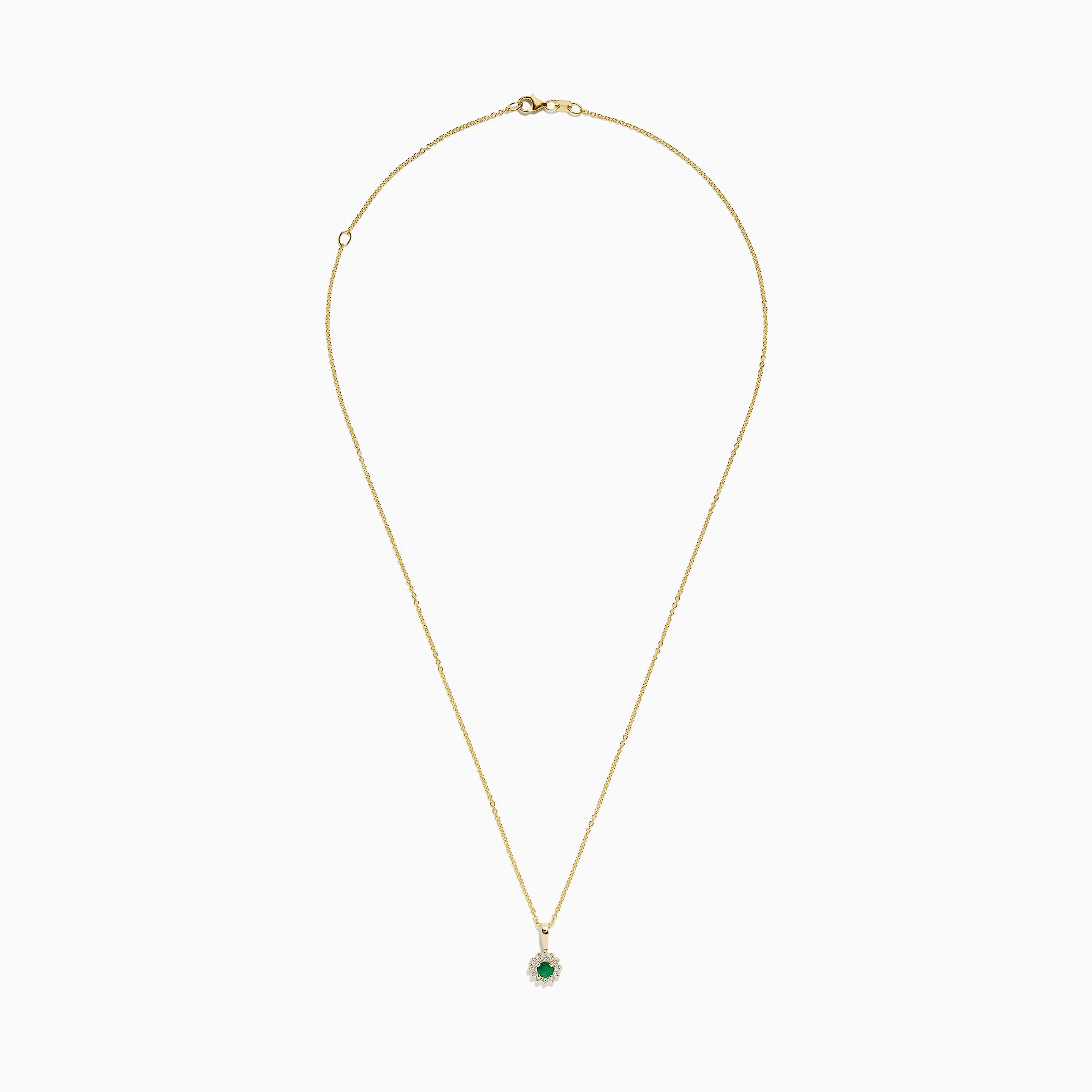 Effy Brasilica 14K Yellow Gold Emerald and Diamond Pendant, 0.36 TCW