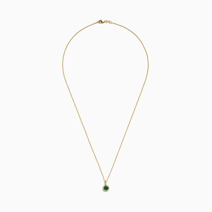 Effy Brasilica 14K Yellow Gold Emerald and Diamond Pendant, 0.54 TCW
