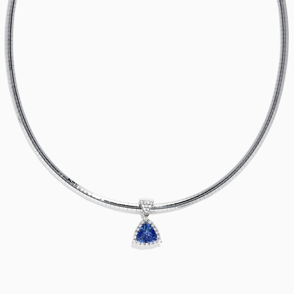 Effy Tanzanite Royale 14K White Gold Trillion Tanzanite and Diamond Necklace, 2.72