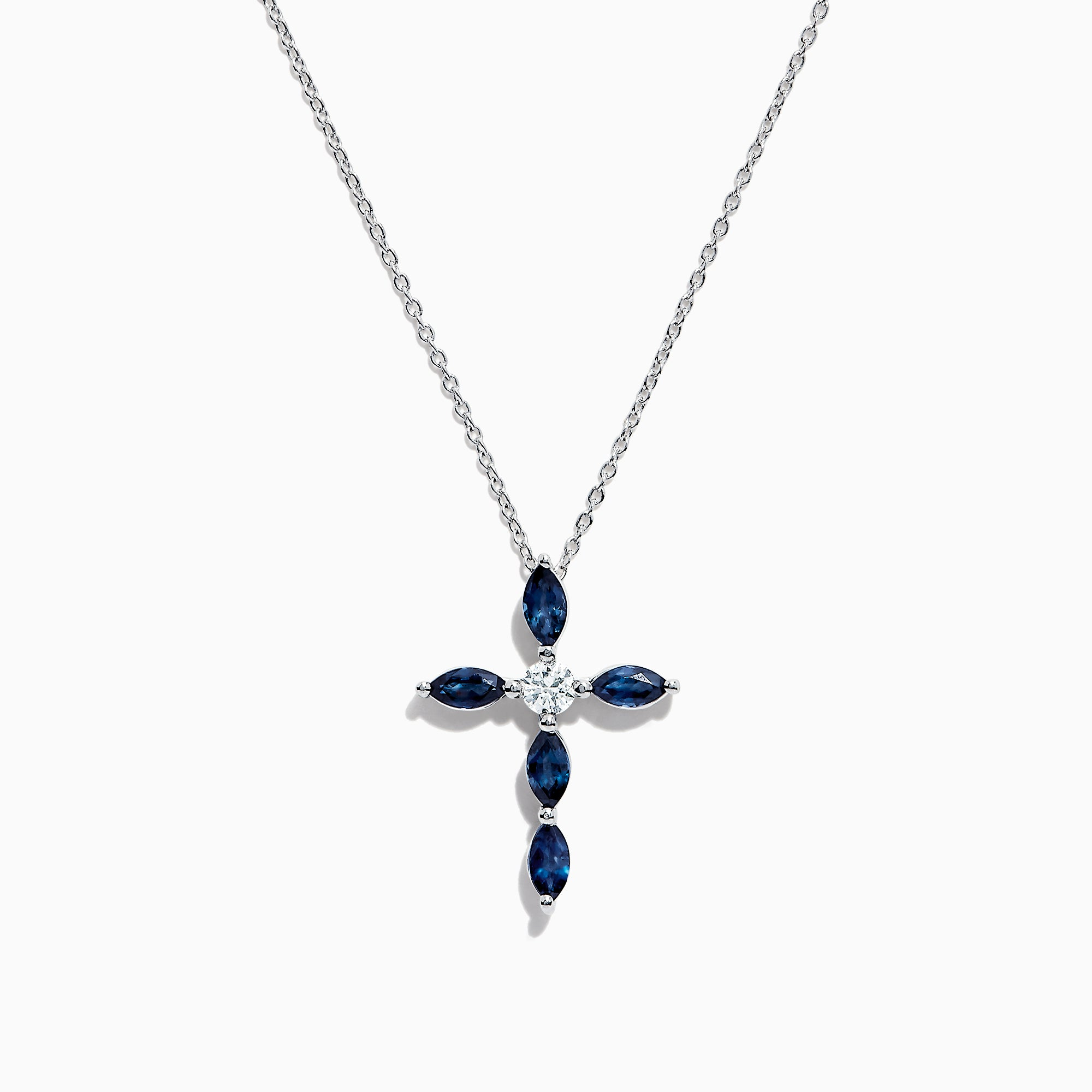 Effy Royale Bleu 14K White Gold Sapphire and Diamond Cross Pendant, 1.86 TCW