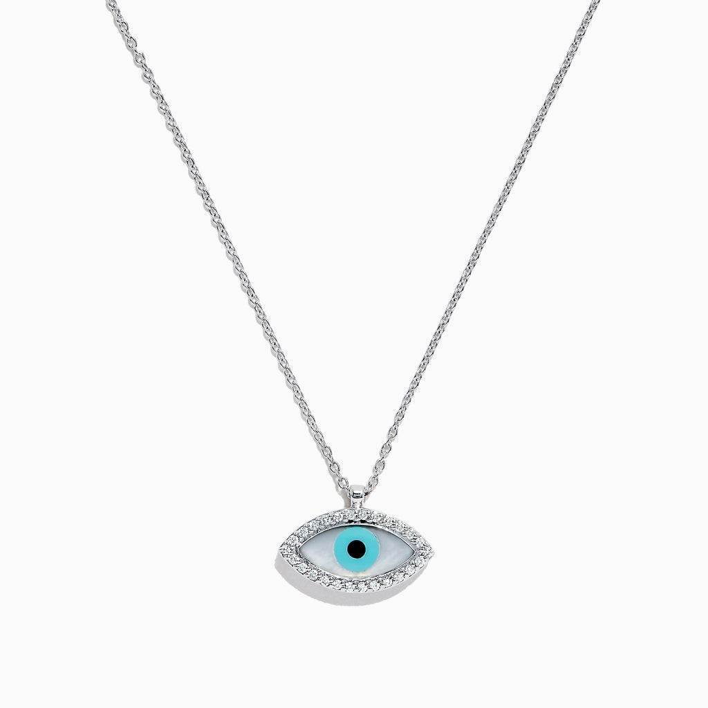 Effy Novelty 14K White Gold Diamond and Enamel Evil Eye Pendant, 0.15 TCW