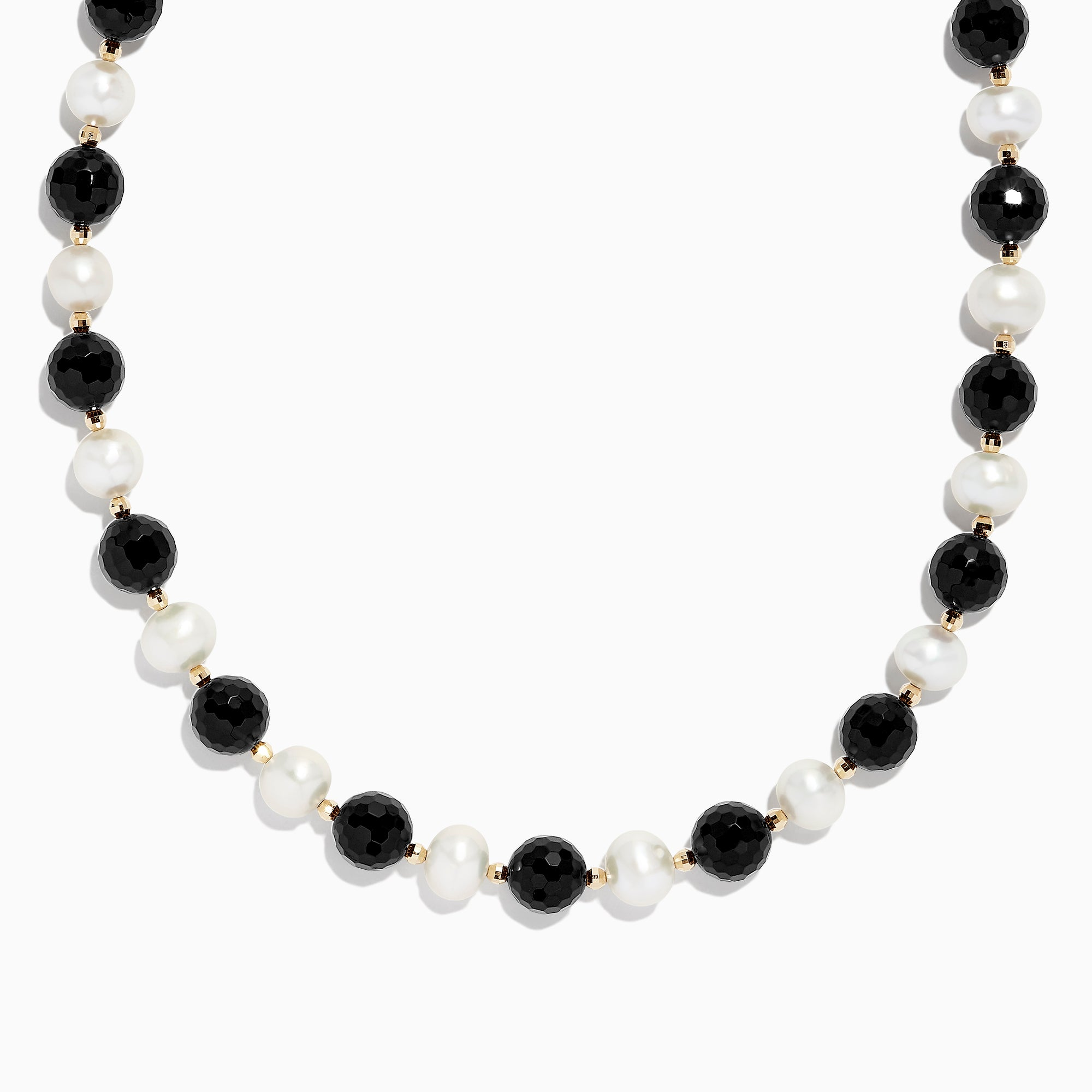 Effy 14K Yellow Gold Cultured Fresh Water Pearl and Onyx Necklace