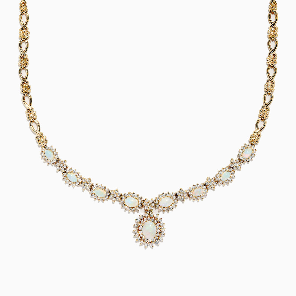 Effy 14K Yellow Gold Opal and Diamond Necklace, 4.25 TCW