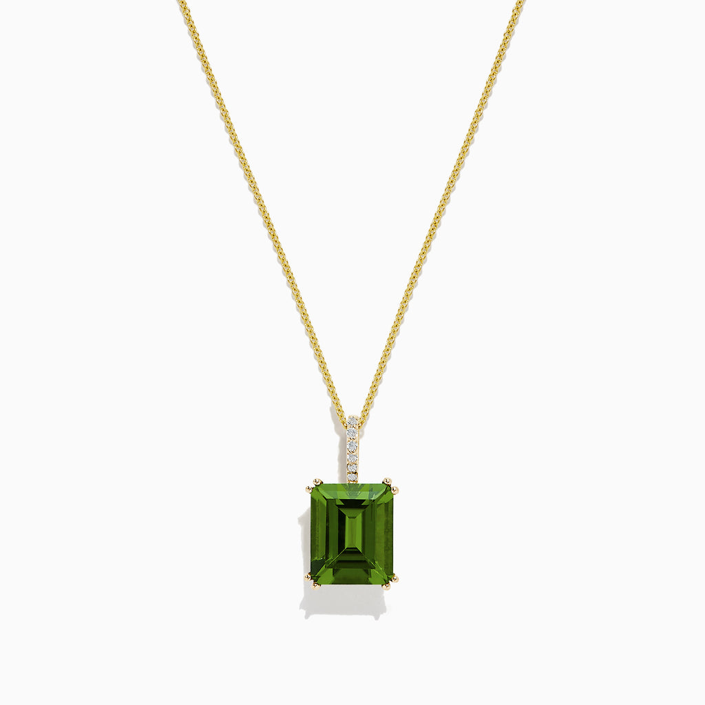 Effy 14K Yellow Gold Peridot and Diamond Pendant, 4.74 TCW
