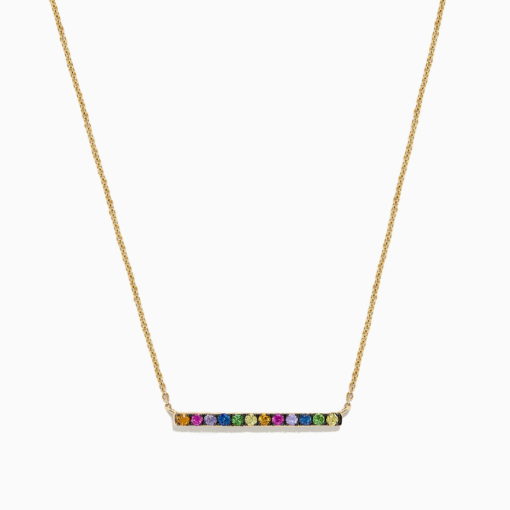 Effy Watercolors 14K Yellow Gold Multi Sapphire Bar Necklace, 0.57 TCW