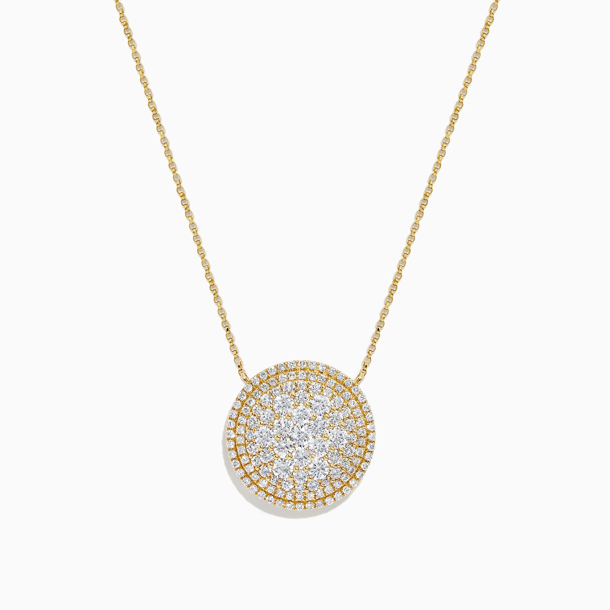 Effy D'Oro 14K Yellow Gold Diamond Pave Disk Necklace, 2.16 TCW