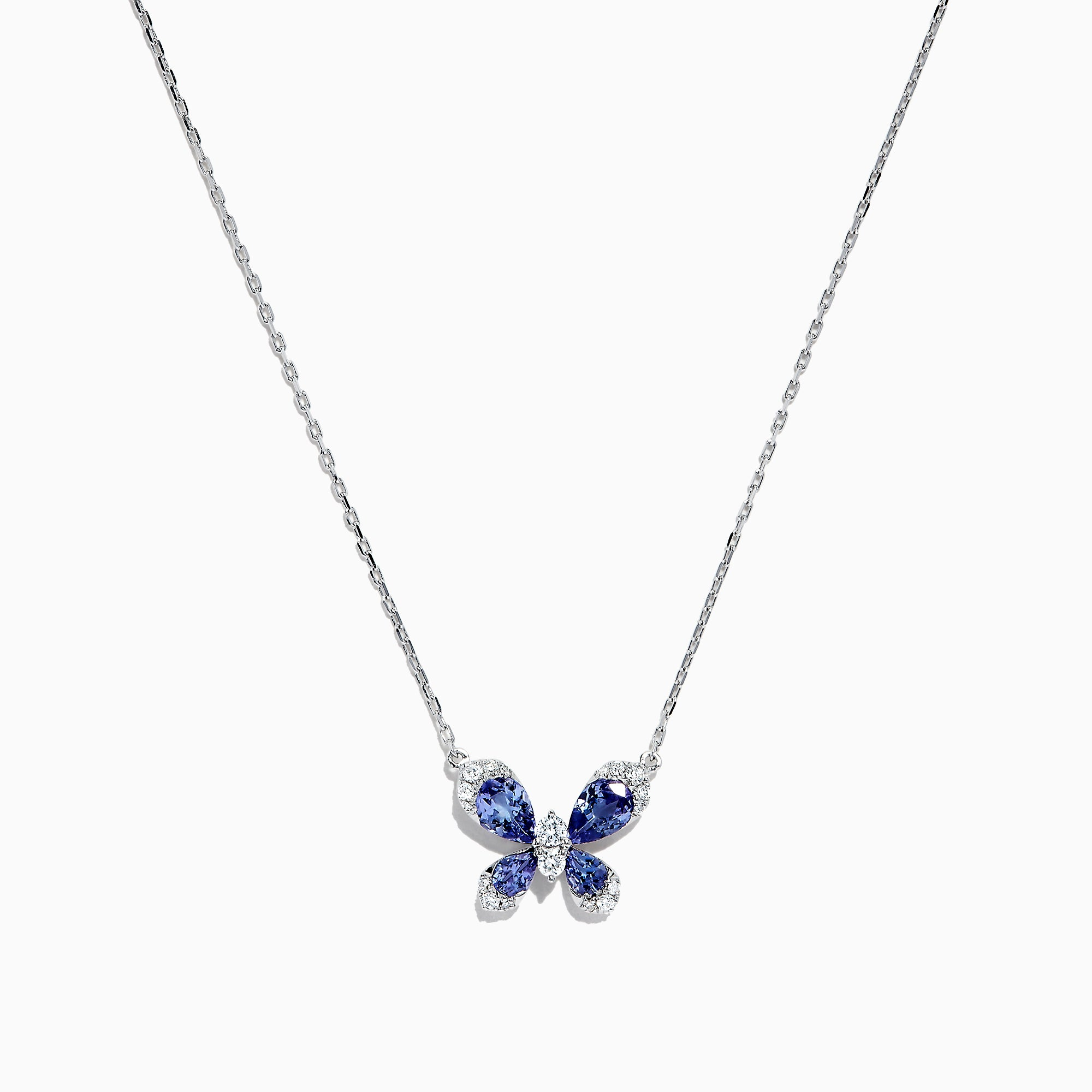 Effy Tanzanite Royale 14K White Gold Tanzanite and Diamond Butterfly Necklace, 1.24 TCW
