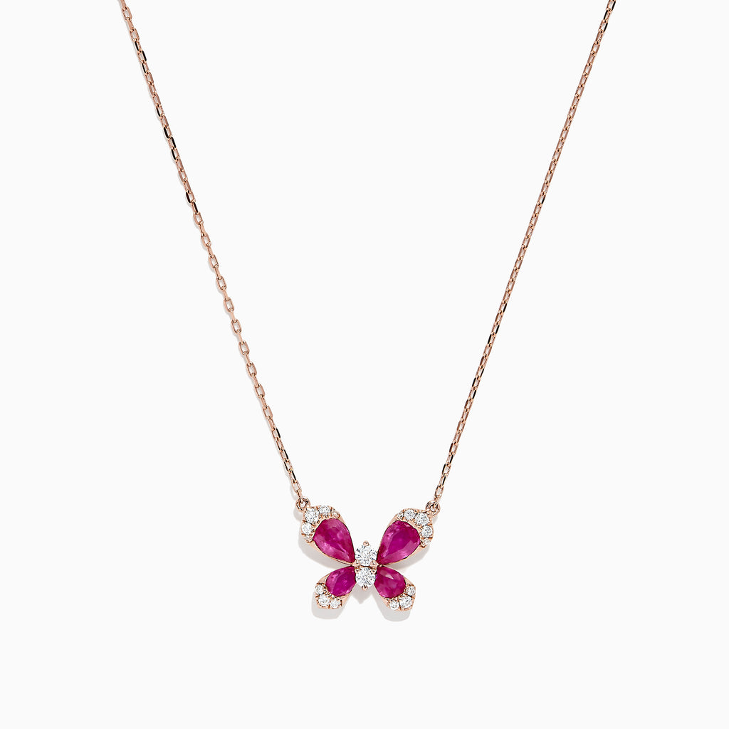 Effy Nature 14K Rose Gold Ruby and Diamond Butterfly Necklace, 1.62 TCW