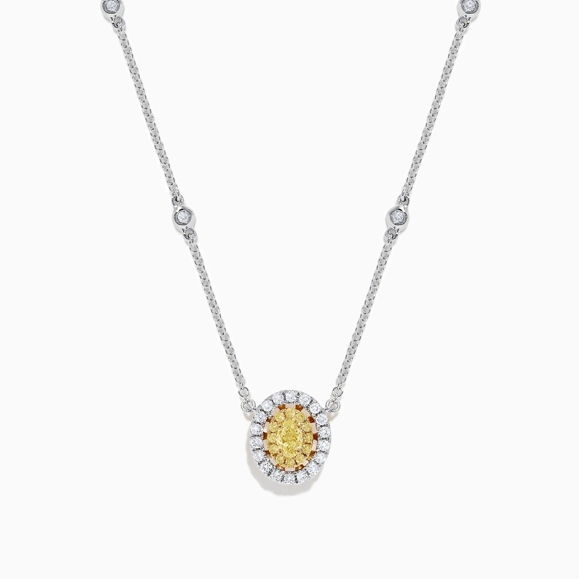 Effy Canare 14K White Gold Yellow and White Diamond Necklace, 0.81 TCW
