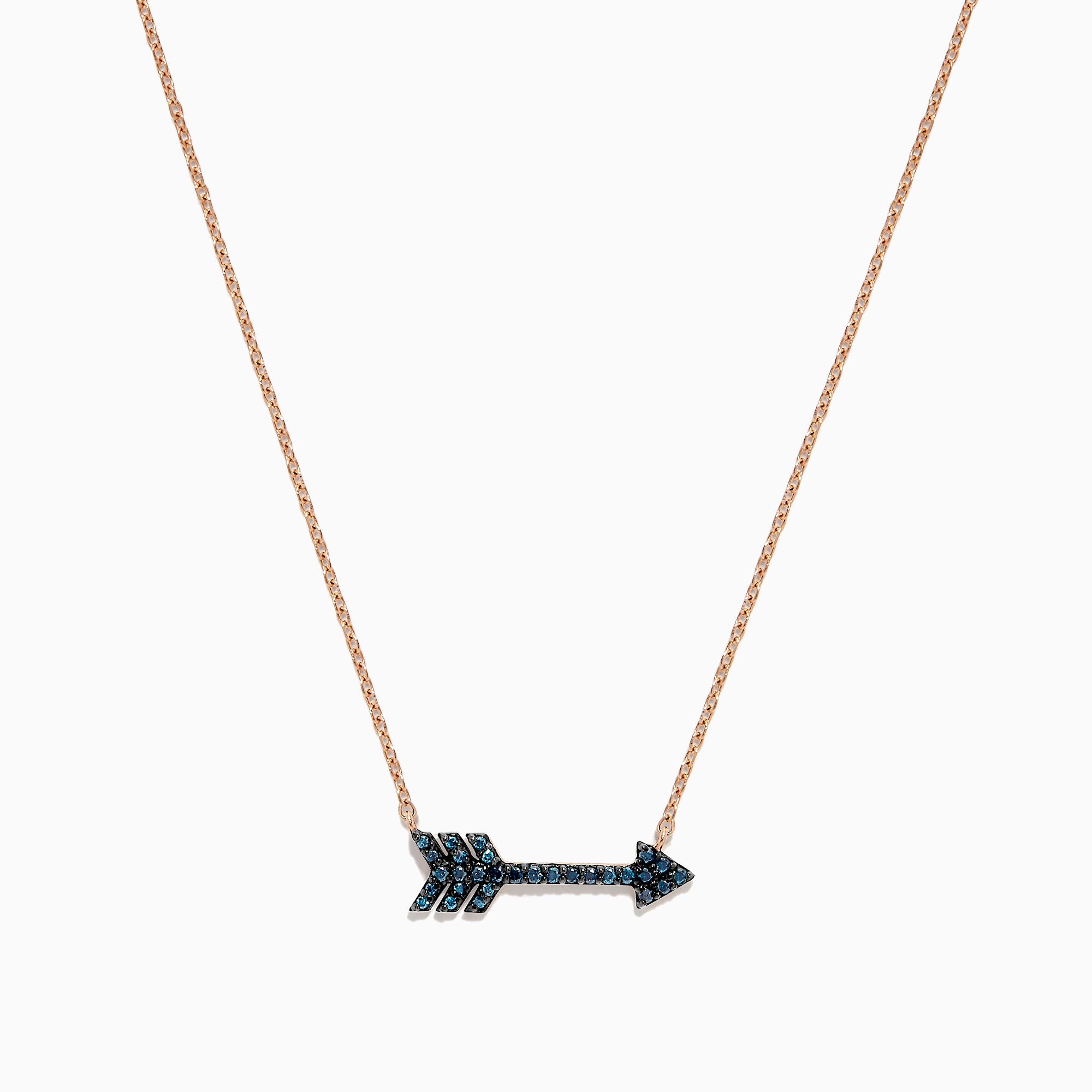 Effy 14K Rose Gold Blue Diamond Arrow Necklace, 0.17 TCW