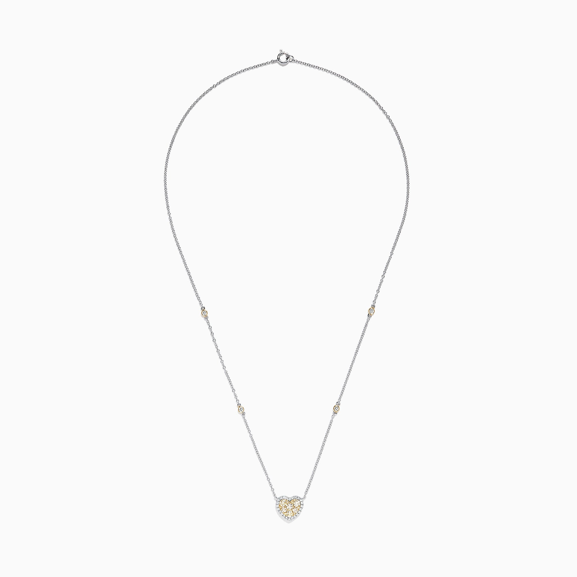 Effy Canare 14K Two Tone Gold Yellow and White Diamond Heart Necklace, 0.71 TCW