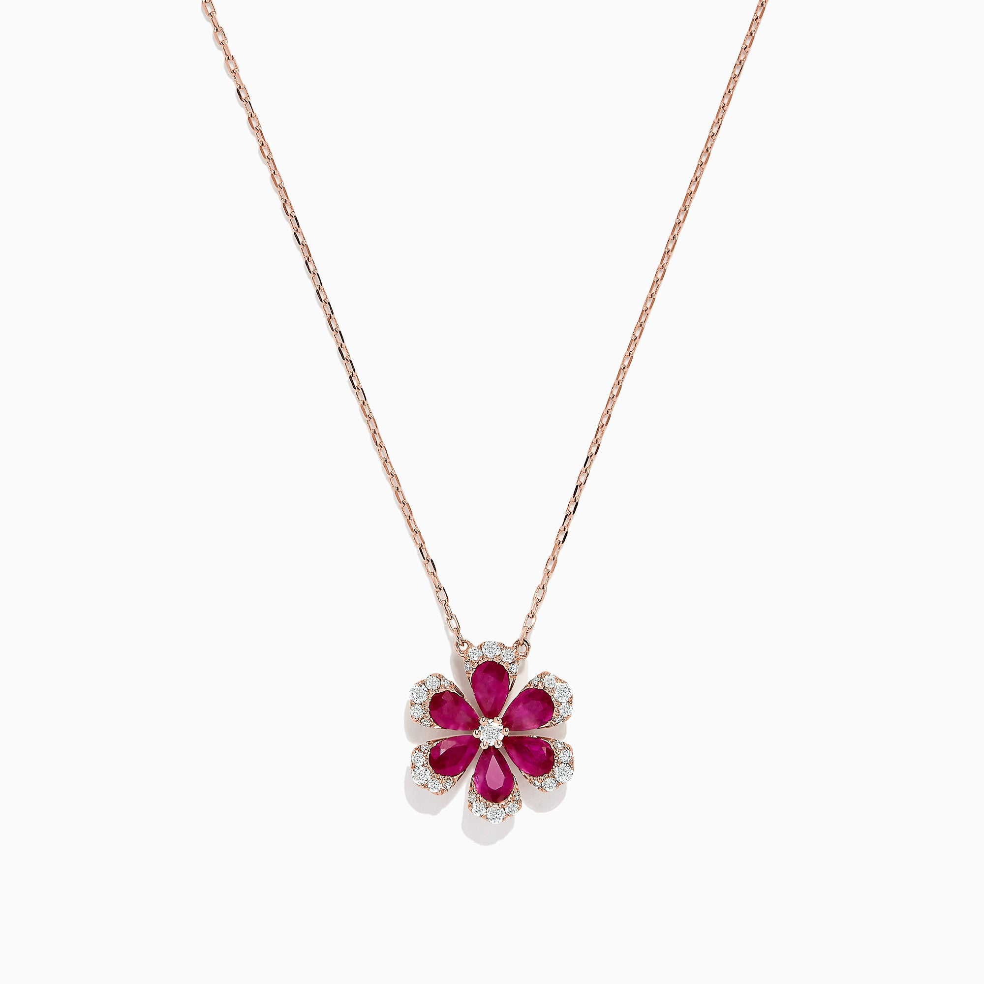 Effy Nature 14K Rose Gold Ruby and Diamond Flower Necklace, 1.91 TCW