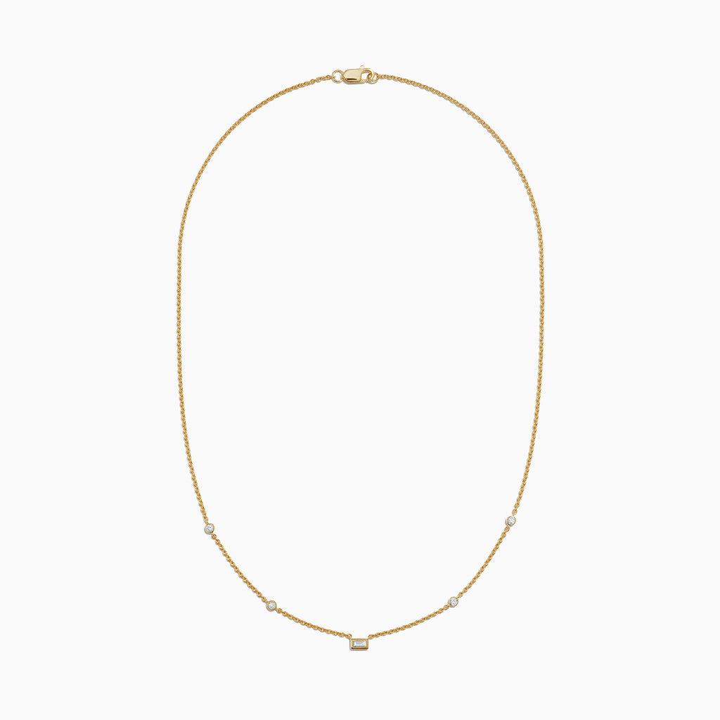 Effy D'Oro 14K Yellow Gold Diamond Station Necklace, 0.23 TCW