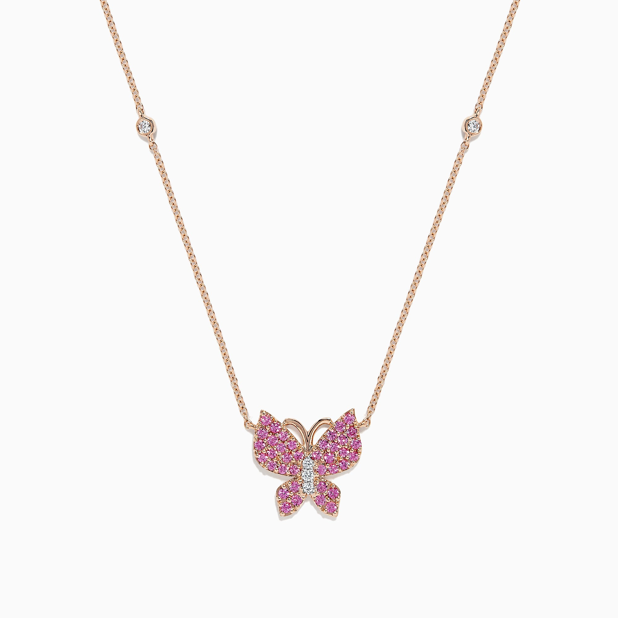 Effy Nature 14K Gold Pink Sapphire & Diamond Butterfly Necklace, 0.50 TCW