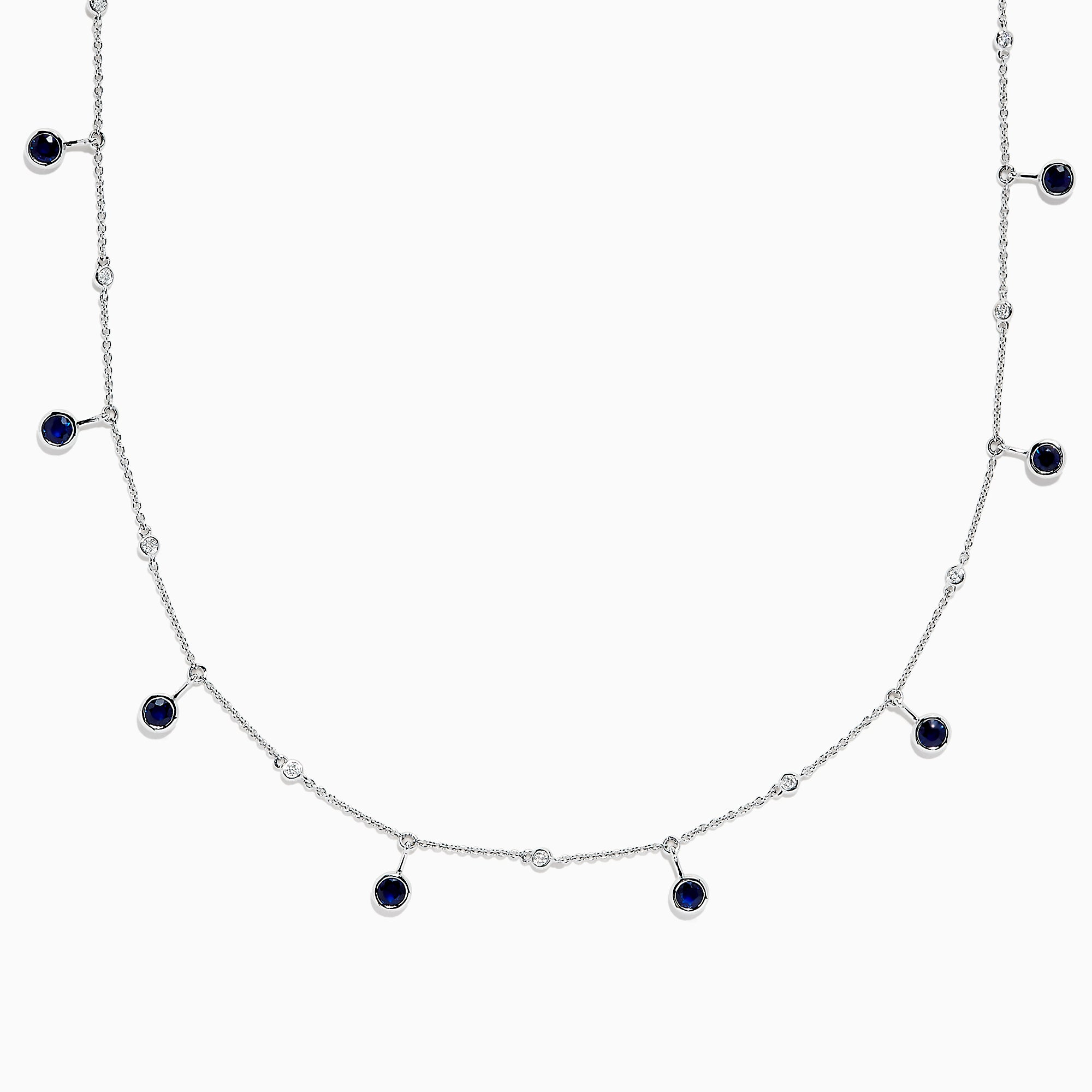 Effy 14K White Gold Sapphire and Diamond Station Necklace, 1.65 TCW