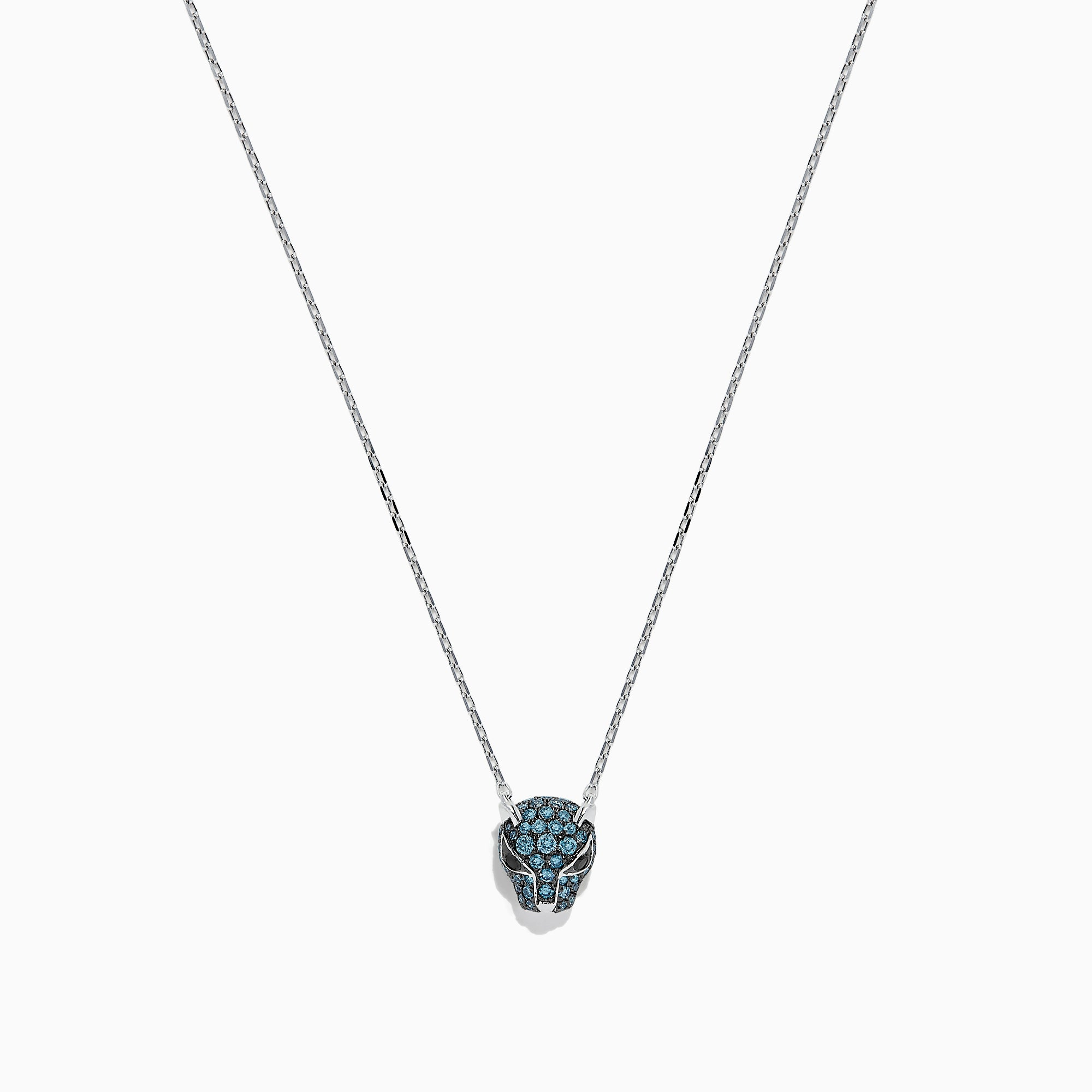 Effy Signature 14K White Gold Blue Diamond Mini Panther Necklace, 0.37 TCW