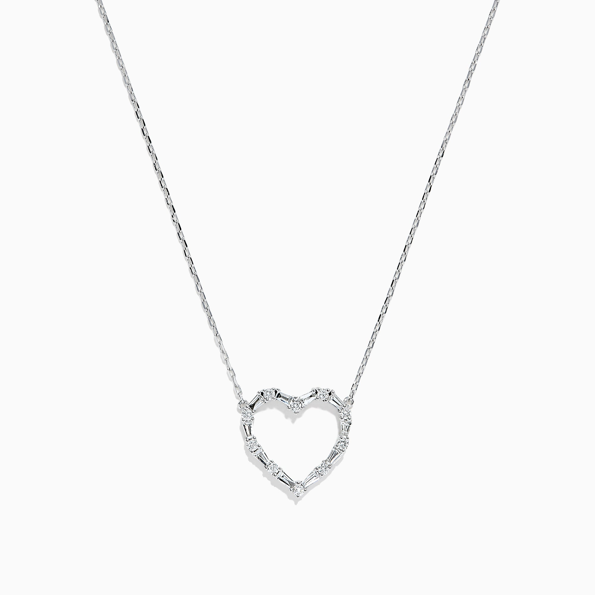 Effy Classique 14K White Gold Diamond Heart Necklace, 0.40 TCW