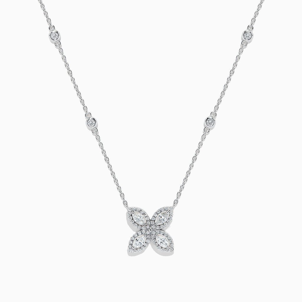 Effy Pave Classica 14K White Gold Diamond Flower Necklace, 0.50 TCW