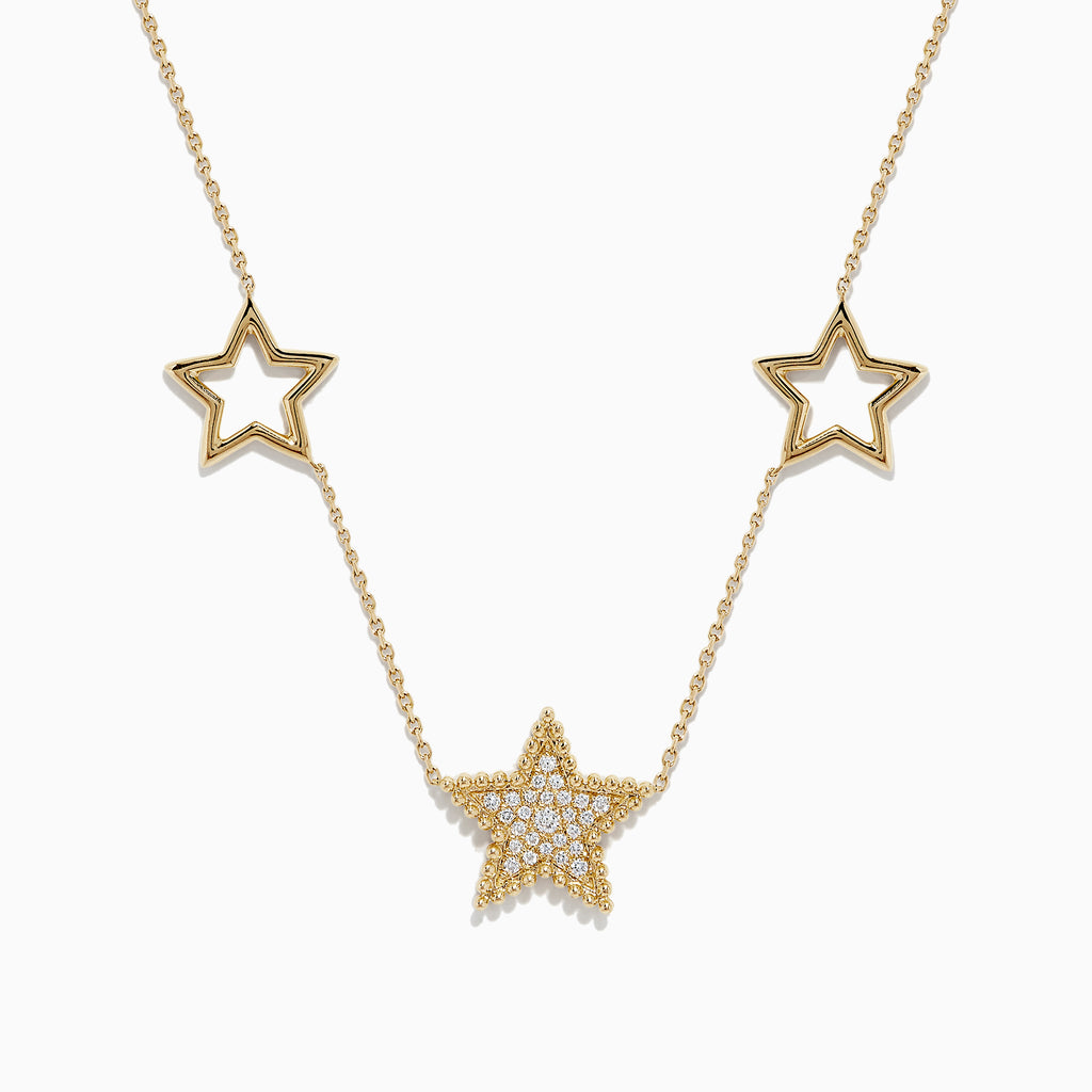 Effy Novelty 14K Yellow Gold Diamond Star Necklace, 0.16 TCW