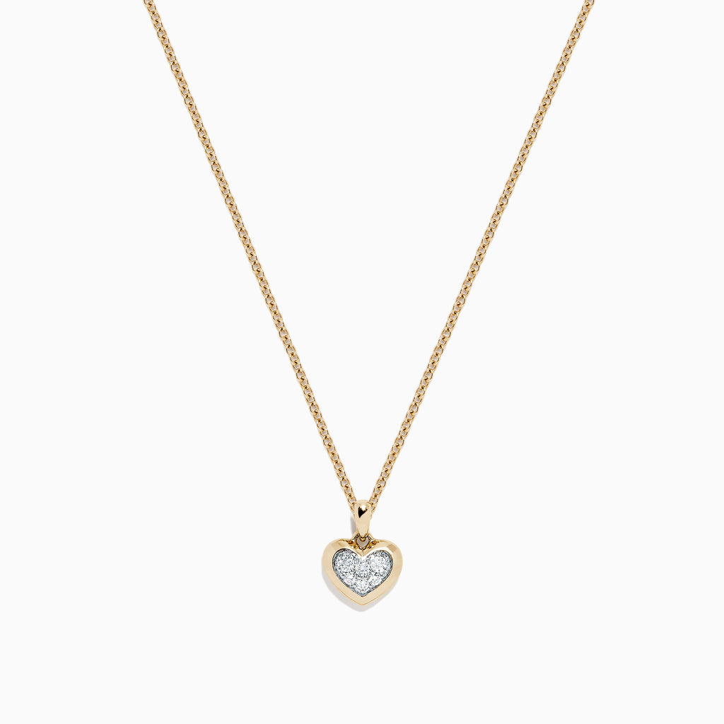 Effy Kidz 14K Yellow Gold Diamond Pave Heart Pendant, 0.10 TCW