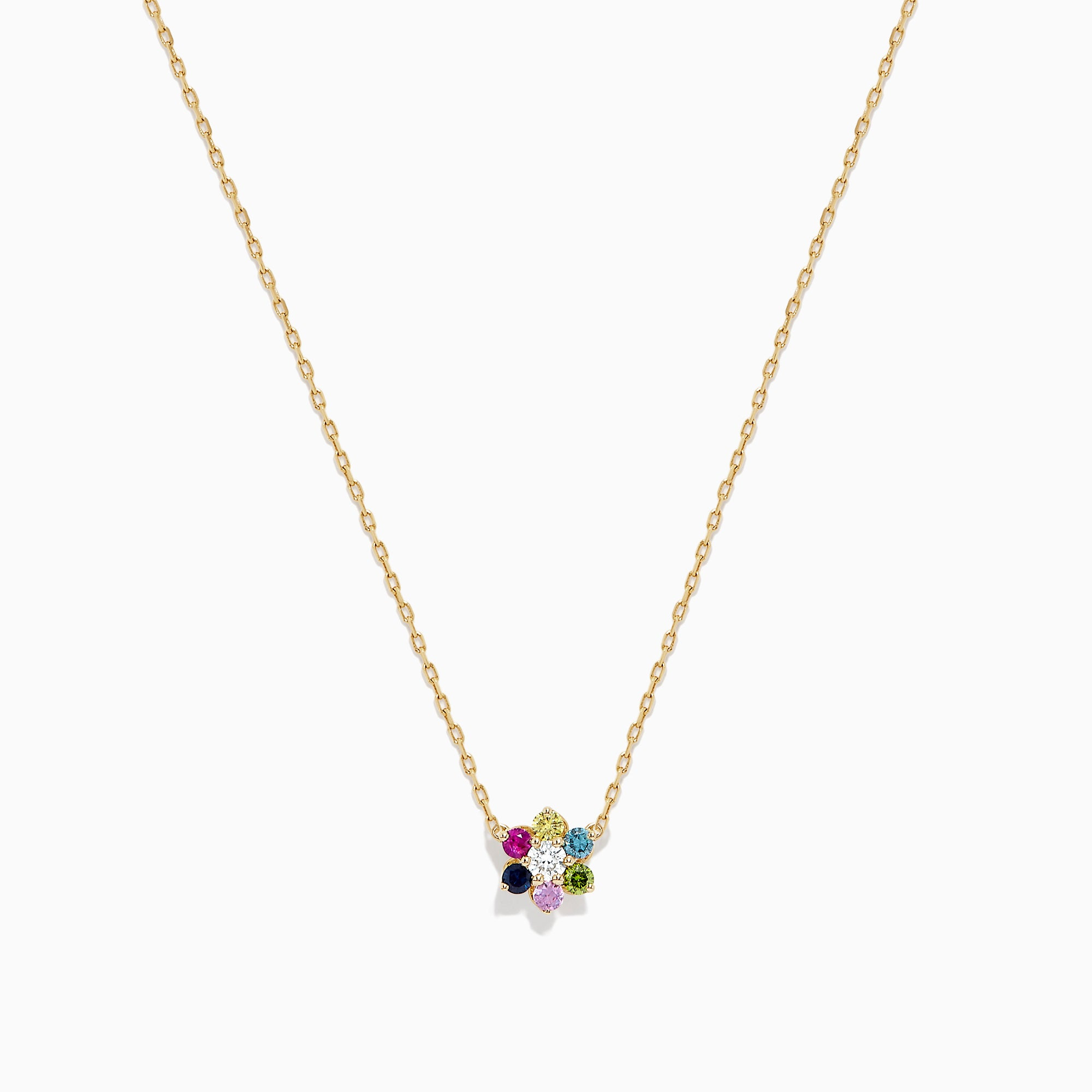 Effy Watercolors 14K Gold Multi Sapphire and Diamond Necklace, 0.34 TCW
