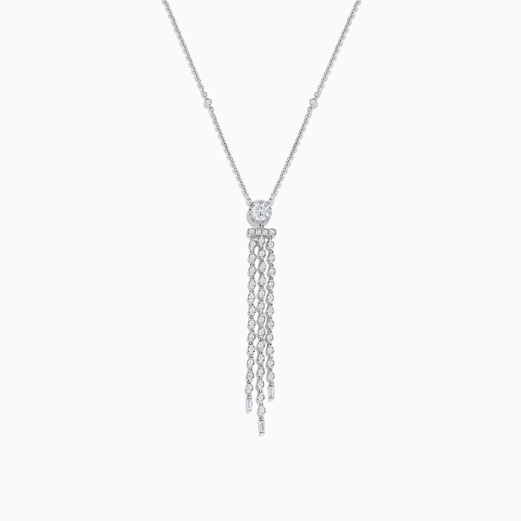 Effy Pave Classica 14K White Gold Dimond Fringe Necklace, 0.94 TCW