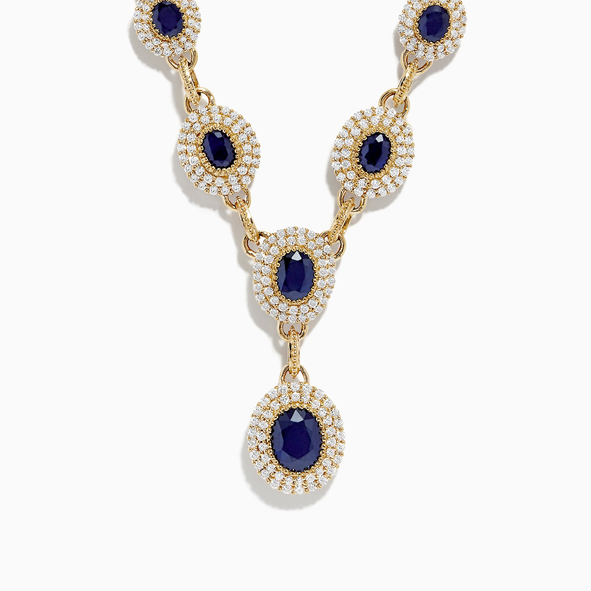 Effy 14K Yellow Gold Sapphire and Diamond Necklace, 7.14 TCW