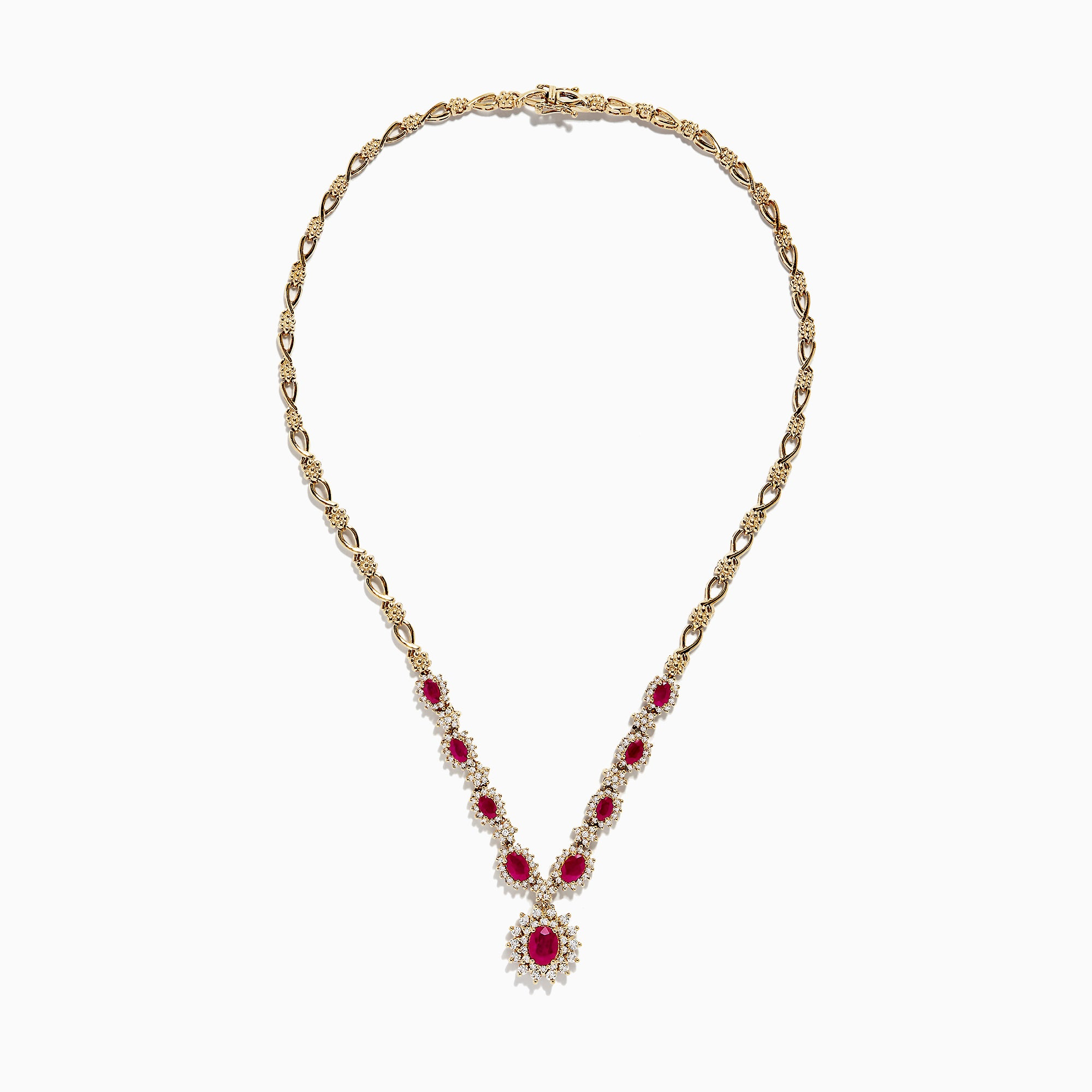 Effy 14K Yellow Gold Ruby and Diamond Necklace, 6.11 TCW