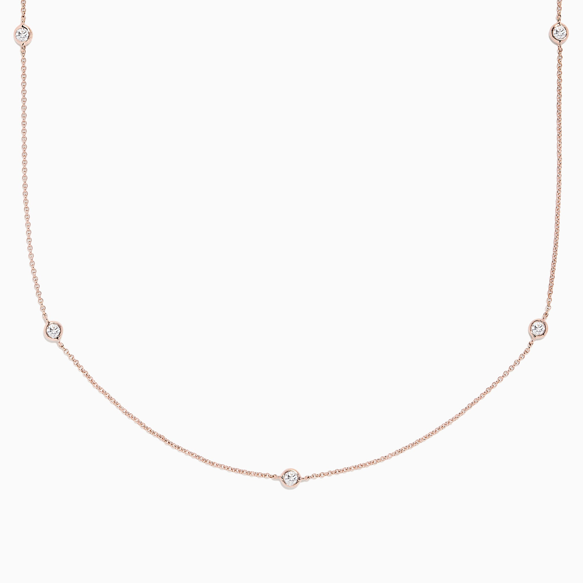 Effy Pave Rose 14K Rose Gold Diamond Station Necklace, 0.62 TCW