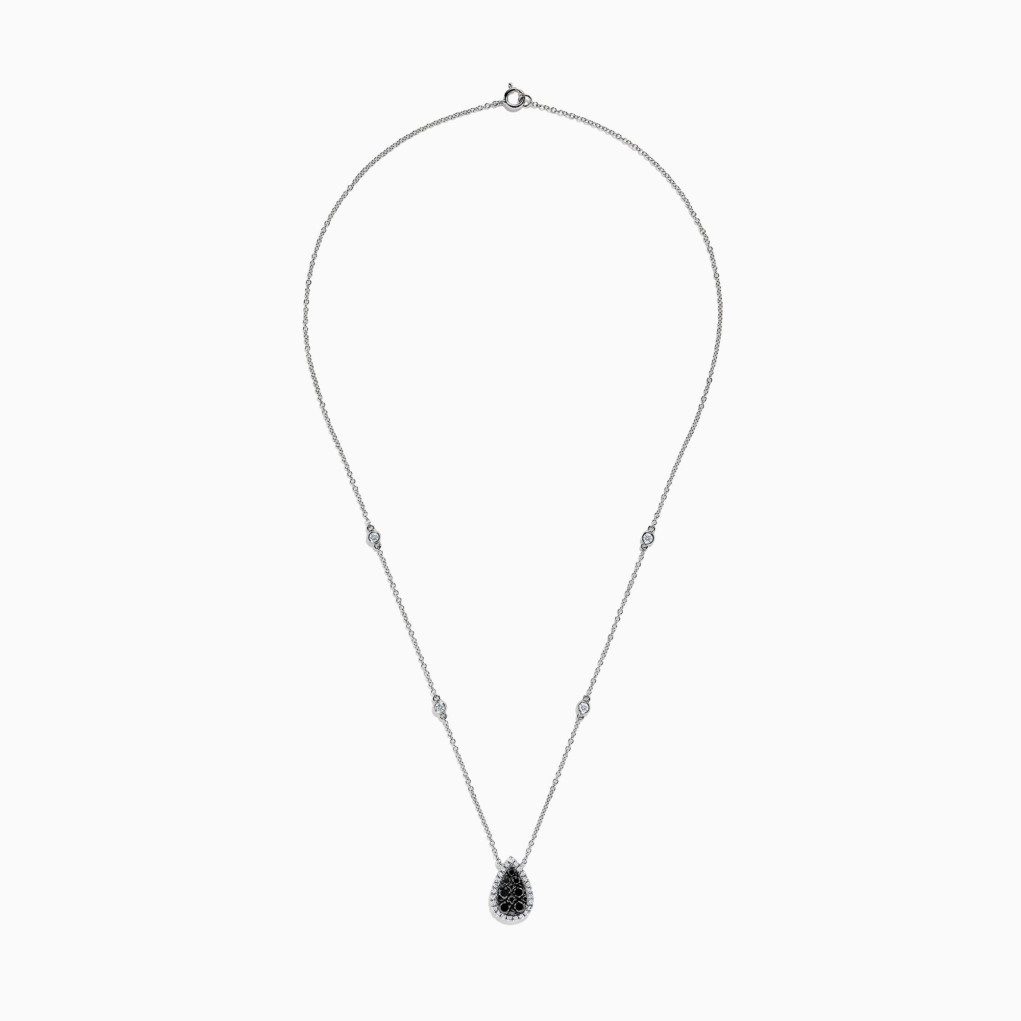 Effy 14K White Gold Black and White Diamond Pear Shaped Necklace, 1.09 TCW