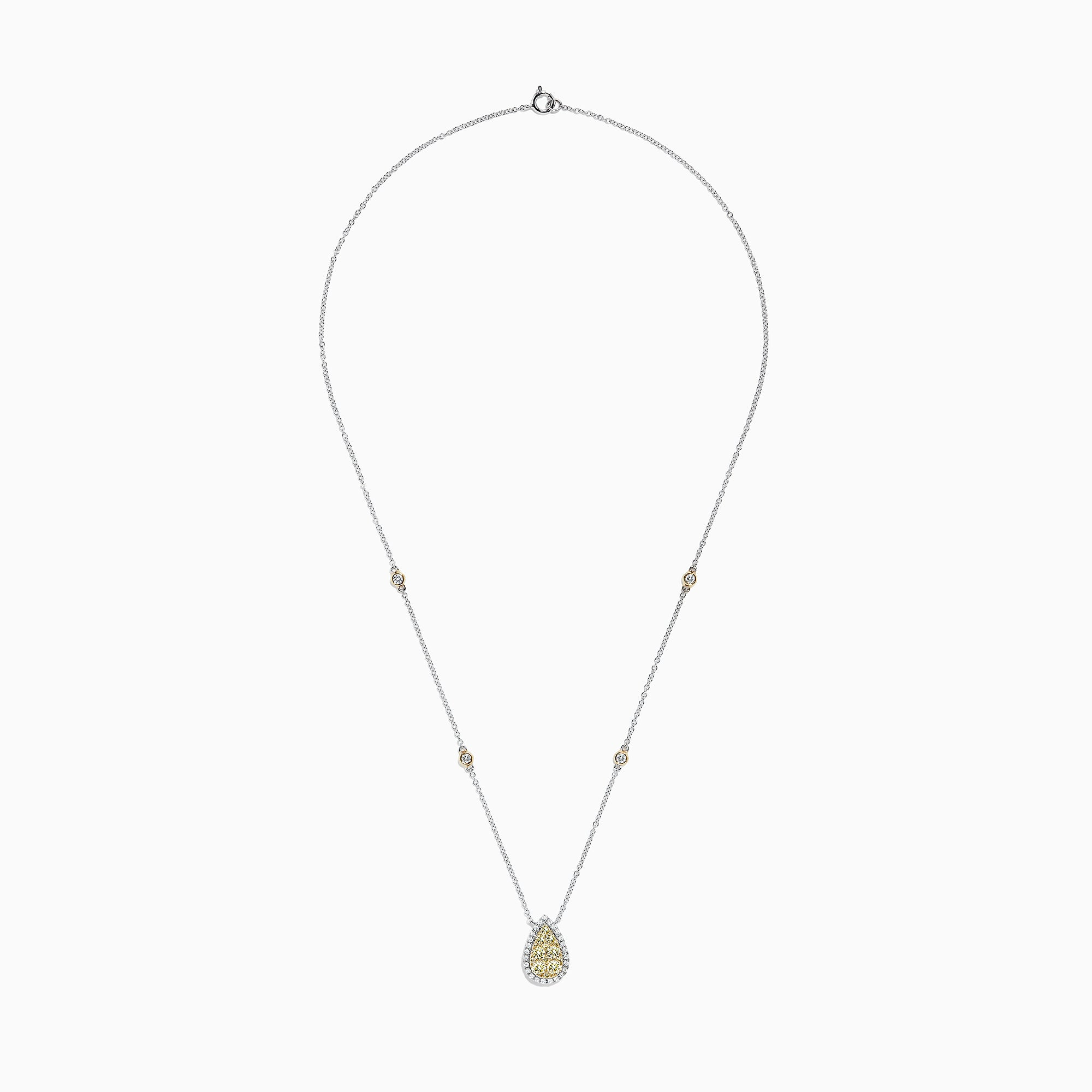 Effy Canare 14K Two Tone Gold Yellow and White Diamond Necklace, 1.09 TCW