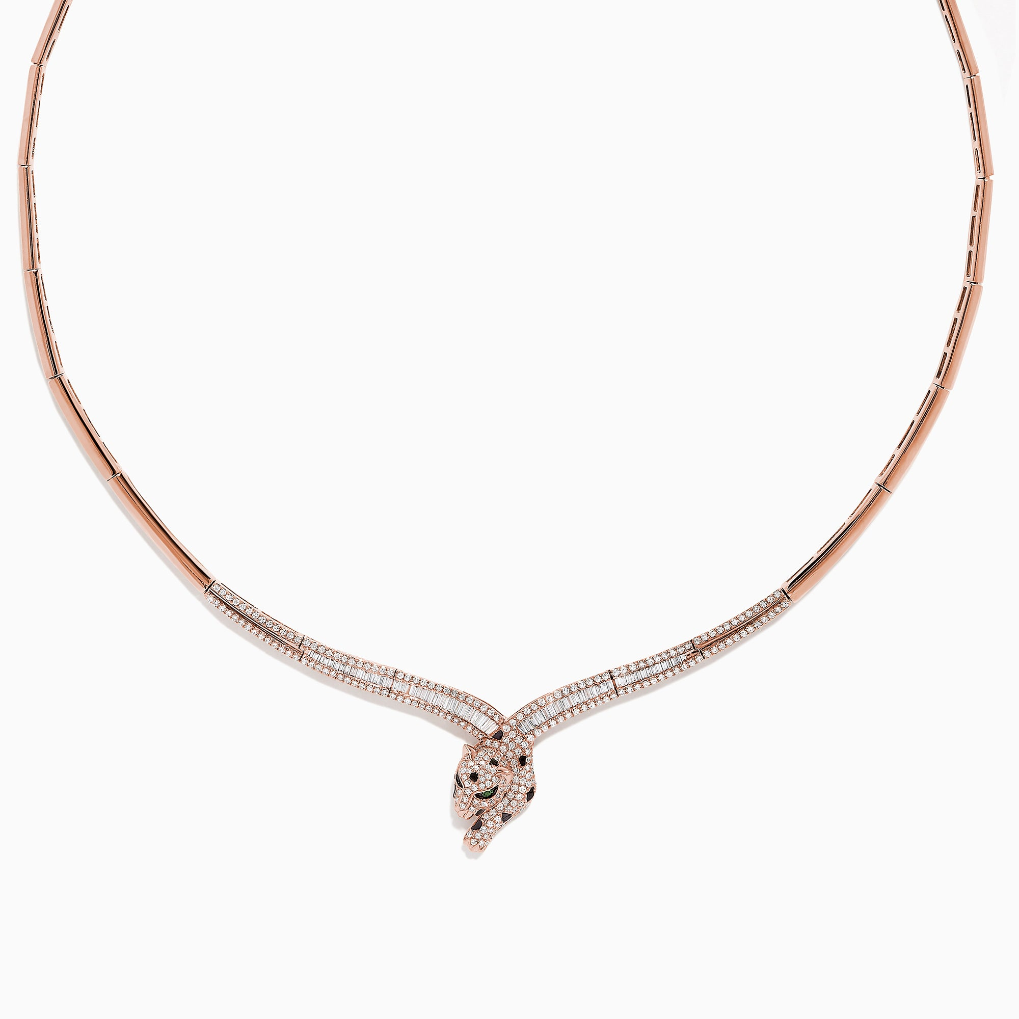 Effy Signature 14K Rose Gold Diamond Panther Necklace, 1.52 TCW