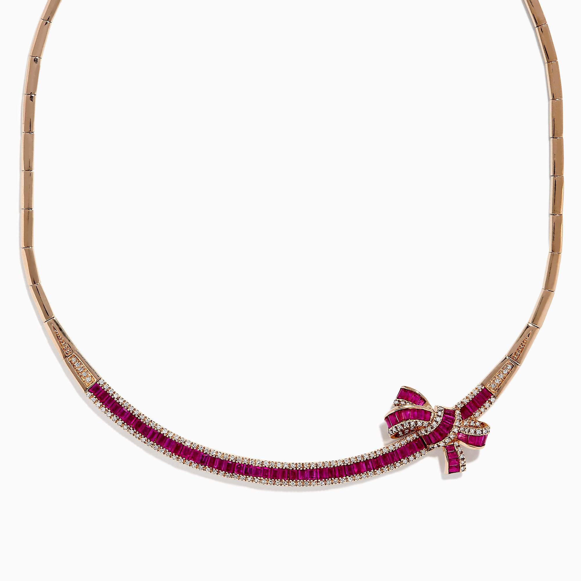 Effy Ruby Royale 14K Rose Gold Ruby and Diamond Bow Necklace, 7.25 TCW
