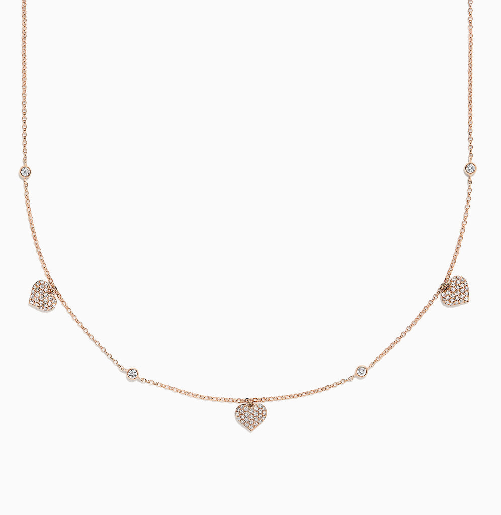 Effy Novelty 14K Rose Gold Diamond Hearts Station Necklace, 0.45 TCW